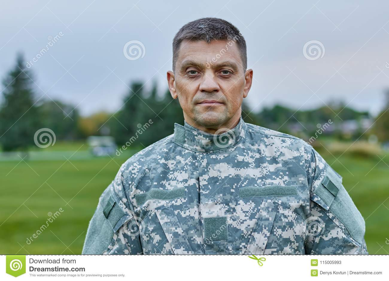 Portrait of mature caucasian soldier.