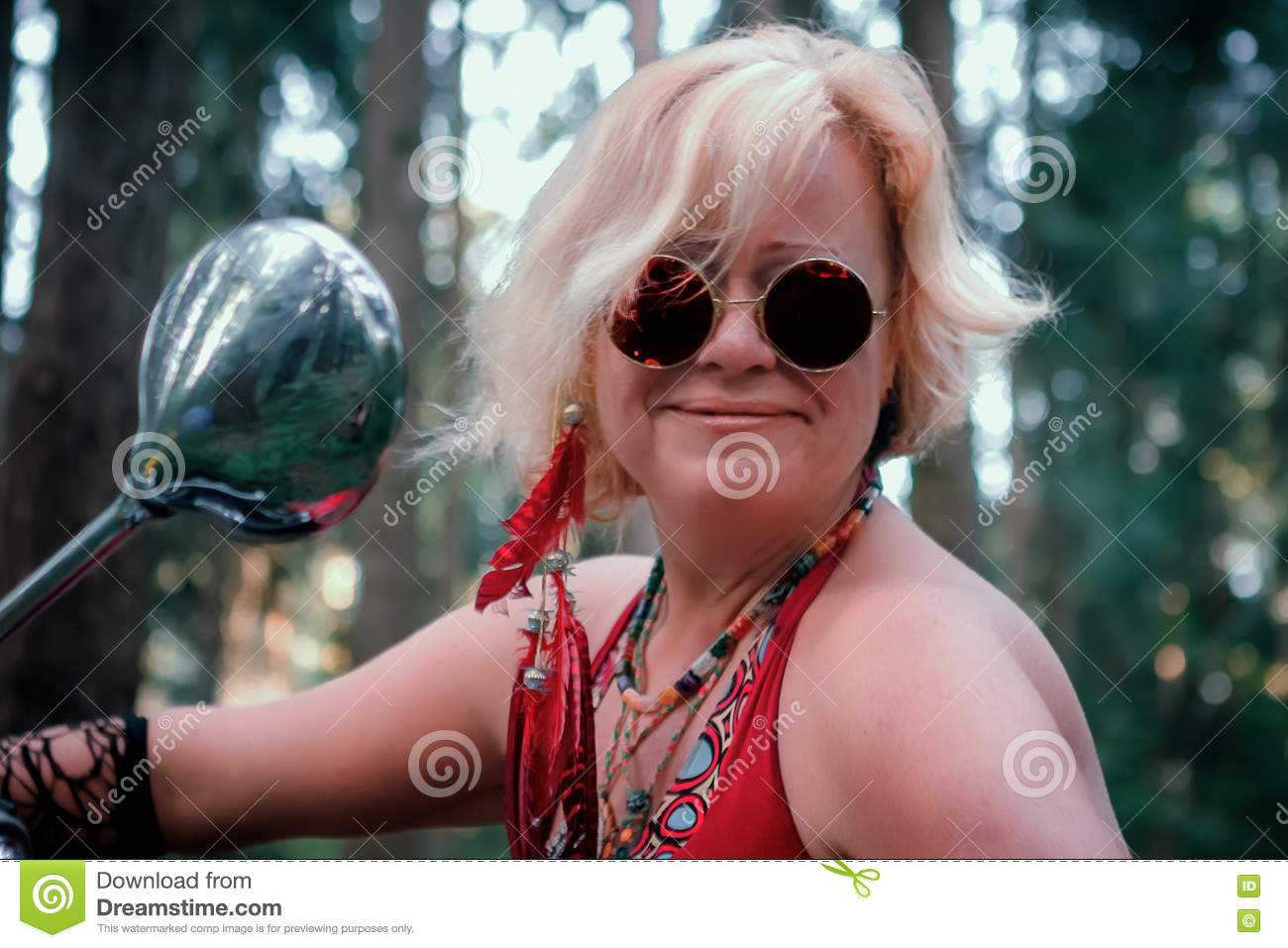 Portrait of Mature Hippie Woman