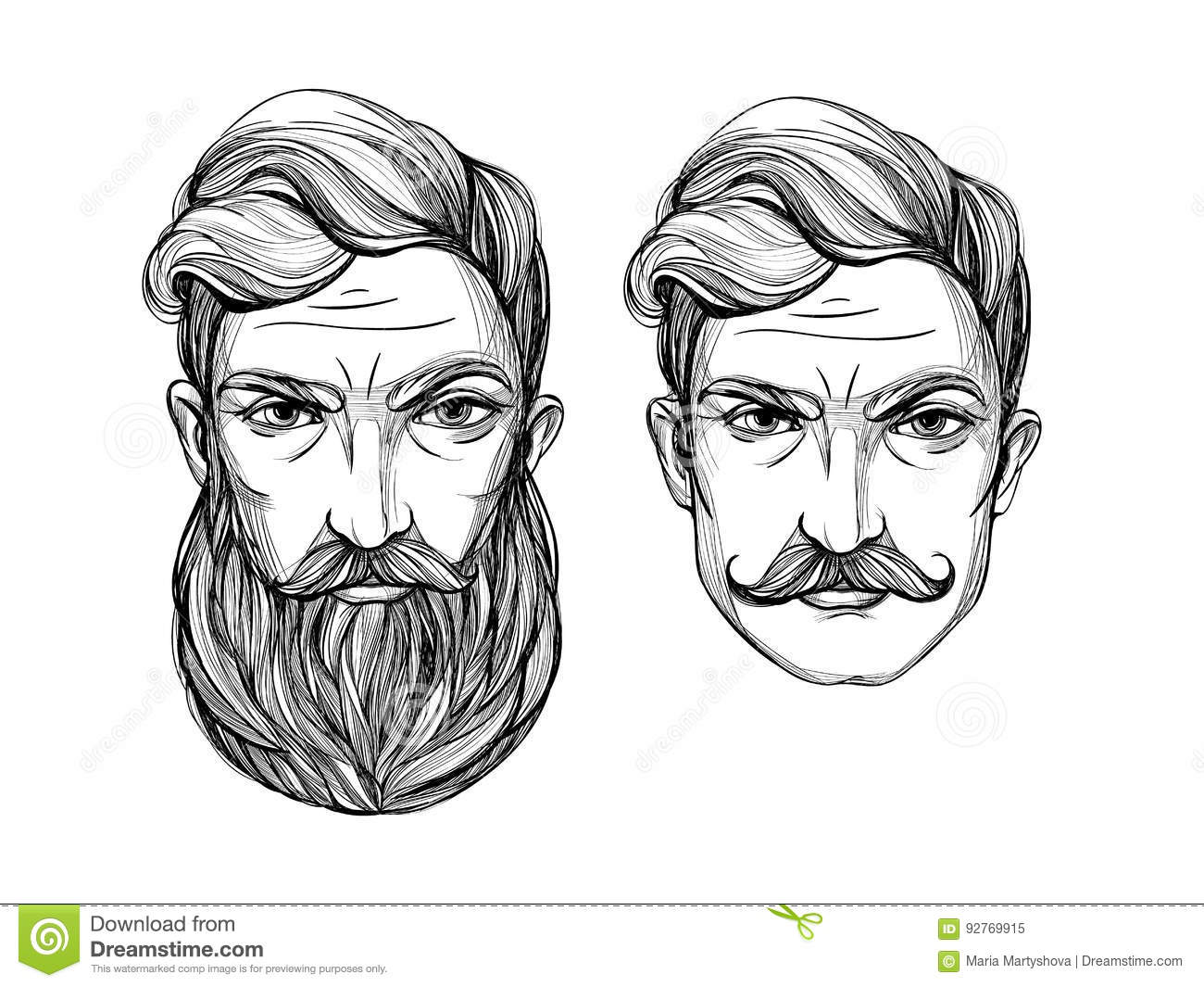 Portrait Of Men With Beard And Mustache. Stock Vector - Illustration ...