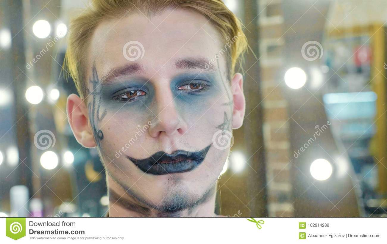download portrait of men with halloween makeup stock image image of adult face