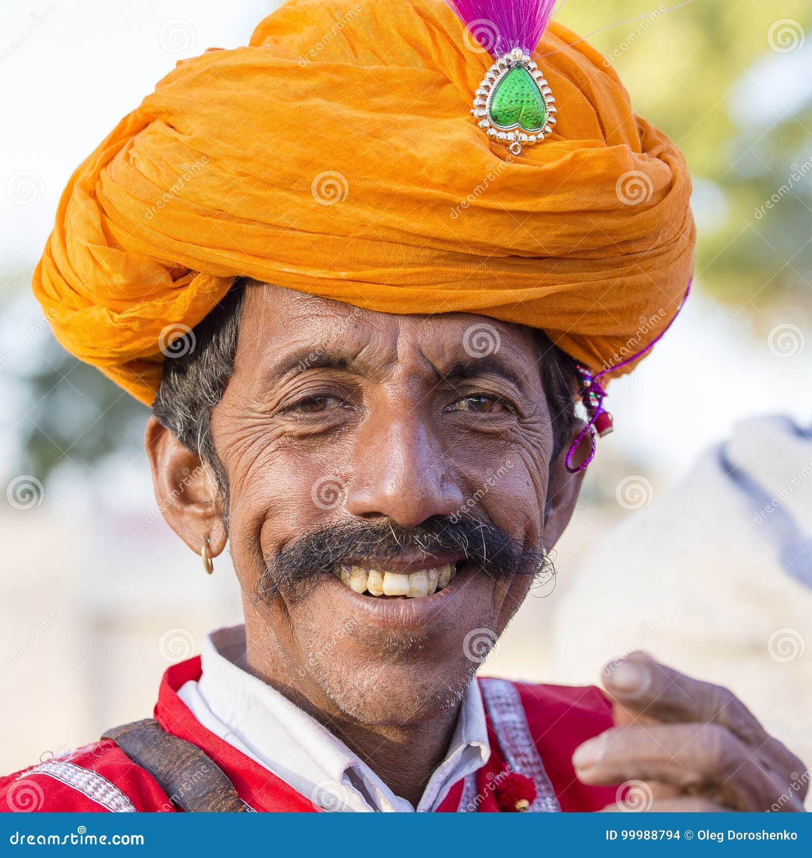 Portrait men wearing traditional Rajasthani dress participate in Mr. Desert contest as part of Desert Festival in Jaisalmer, Rajas