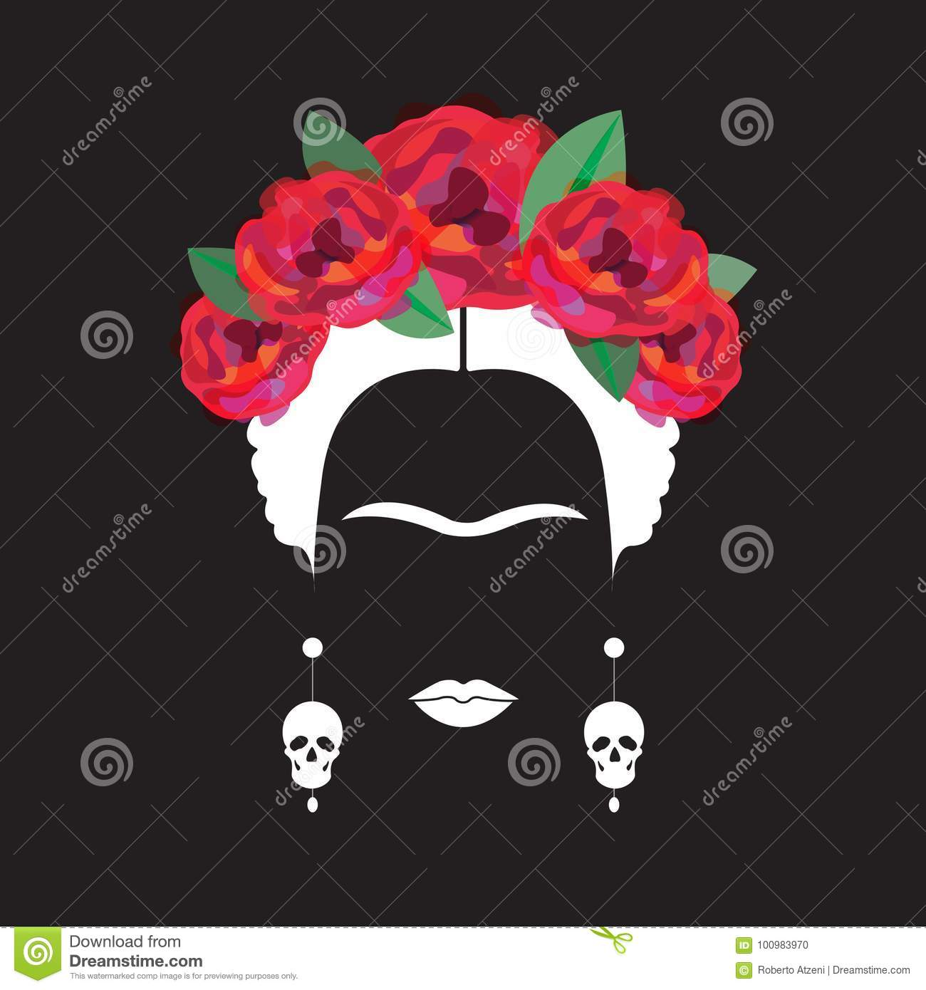 Portrait of Mexican or Spanish woman minimalist Frida Kahlo with earrings skulls and red flowers , black background