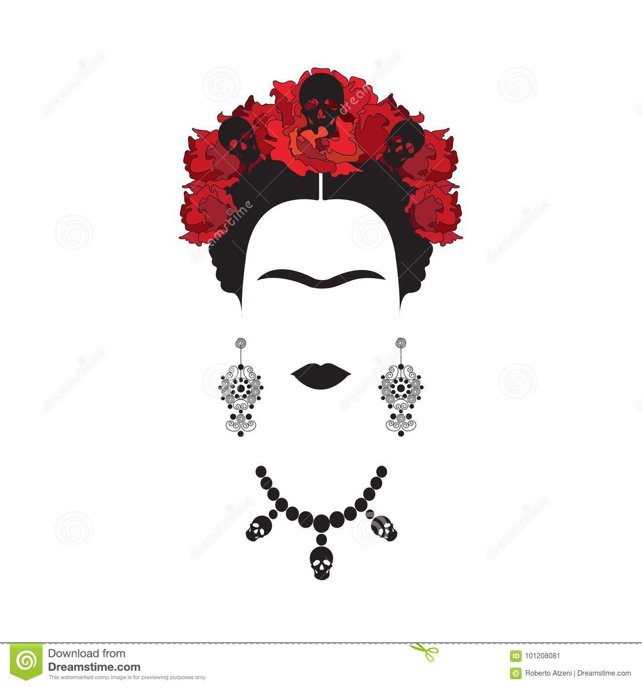 Portrait of Frida Kahlo minimalist Mexican woman with skulls of earrings and red flowers, Mexican Catrina, isolated