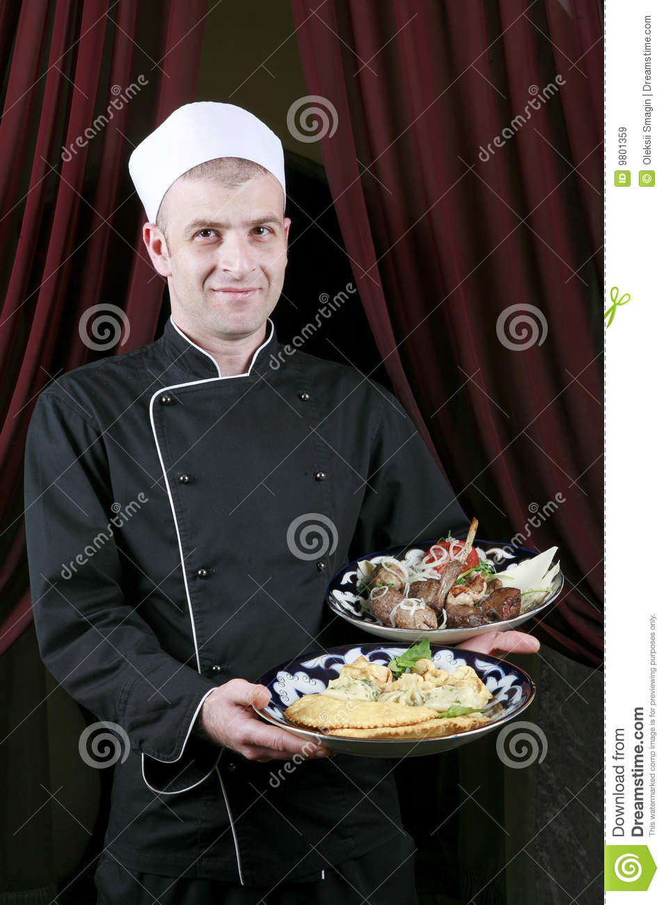 Kitchen Present Portrait Mid Adult Male Chef In Kitchen Present Royalty Free Stock