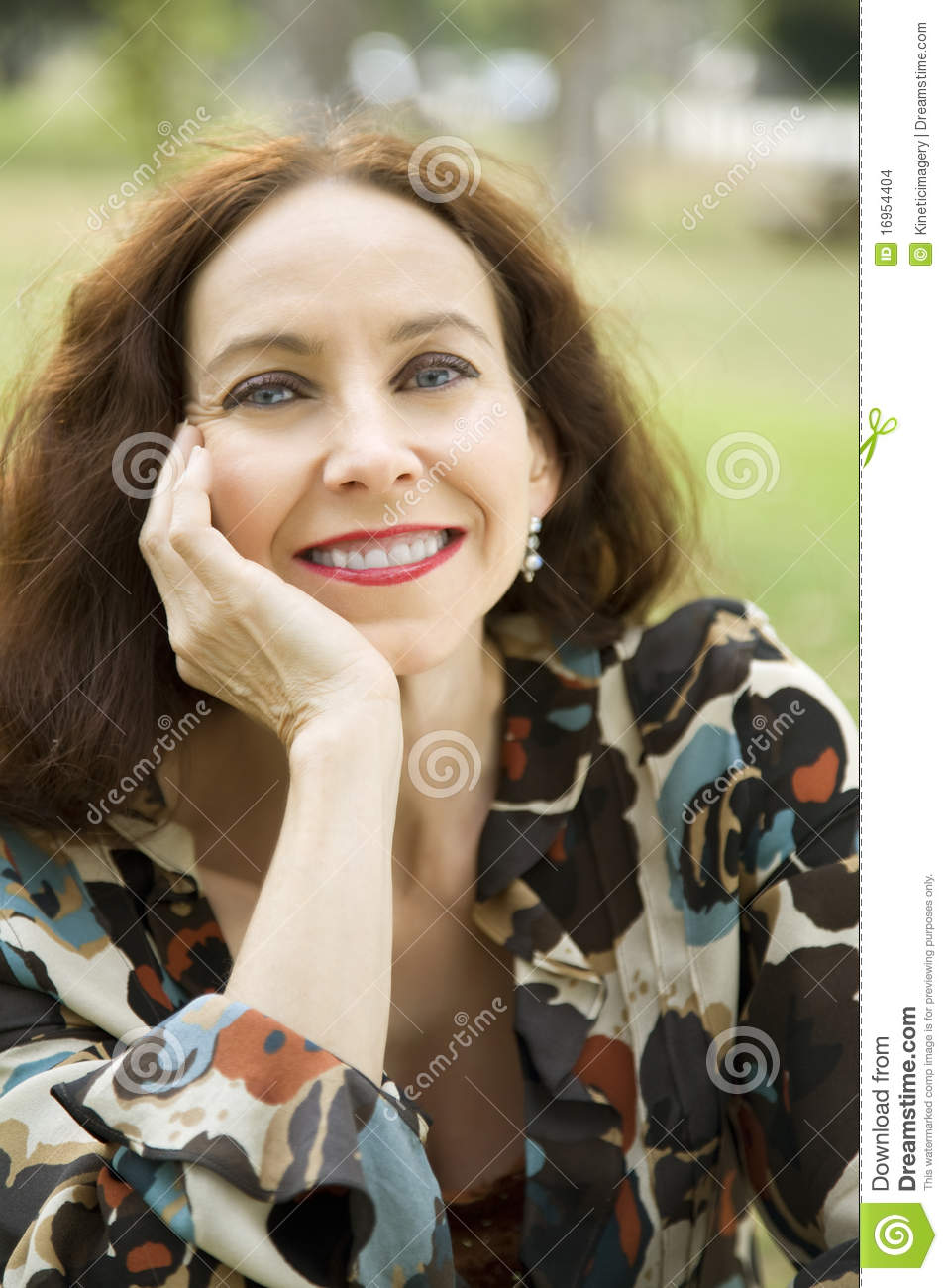 Portrait Of A Middle Age Woman Stock Photo Image Of Head