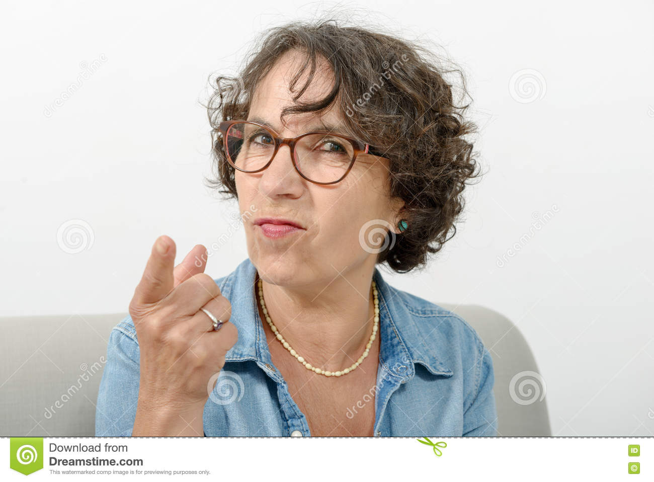 Portrait of a middle-aged woman angry