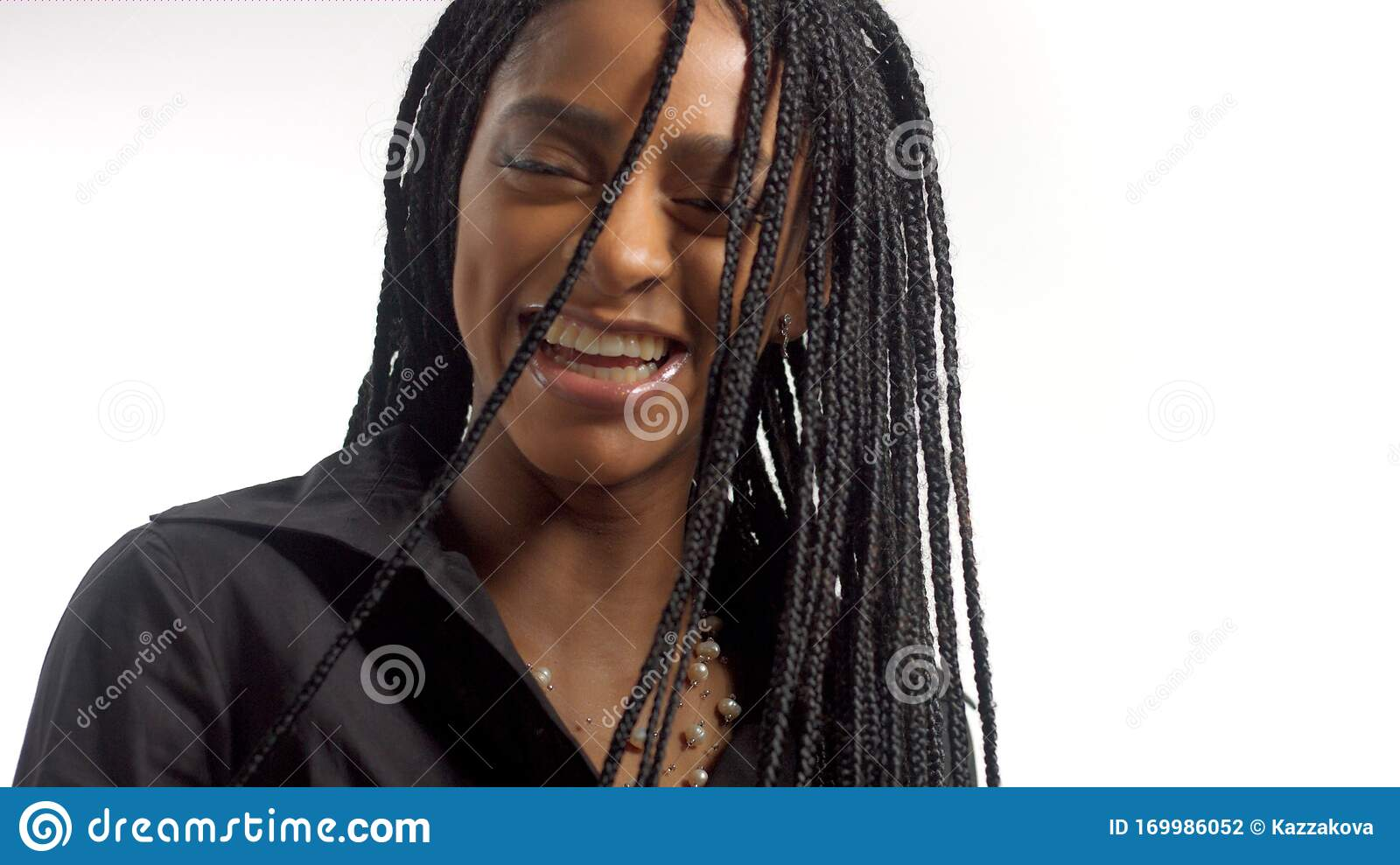 Mixed Race Woman With Hair Braids In Studio On White Portrait Stock Photo Image Of Braids Latin 169986052