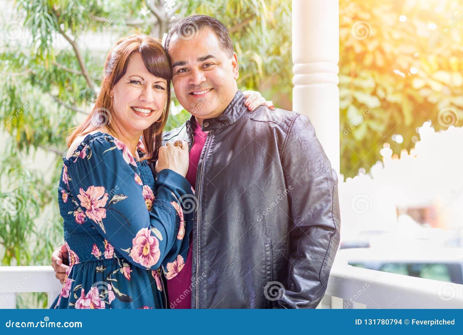 Portrait of Mixed Race Caucasian Woman and Hispanic Man