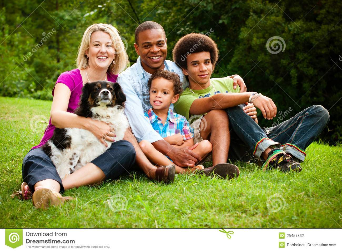 Portrait of mixed race family