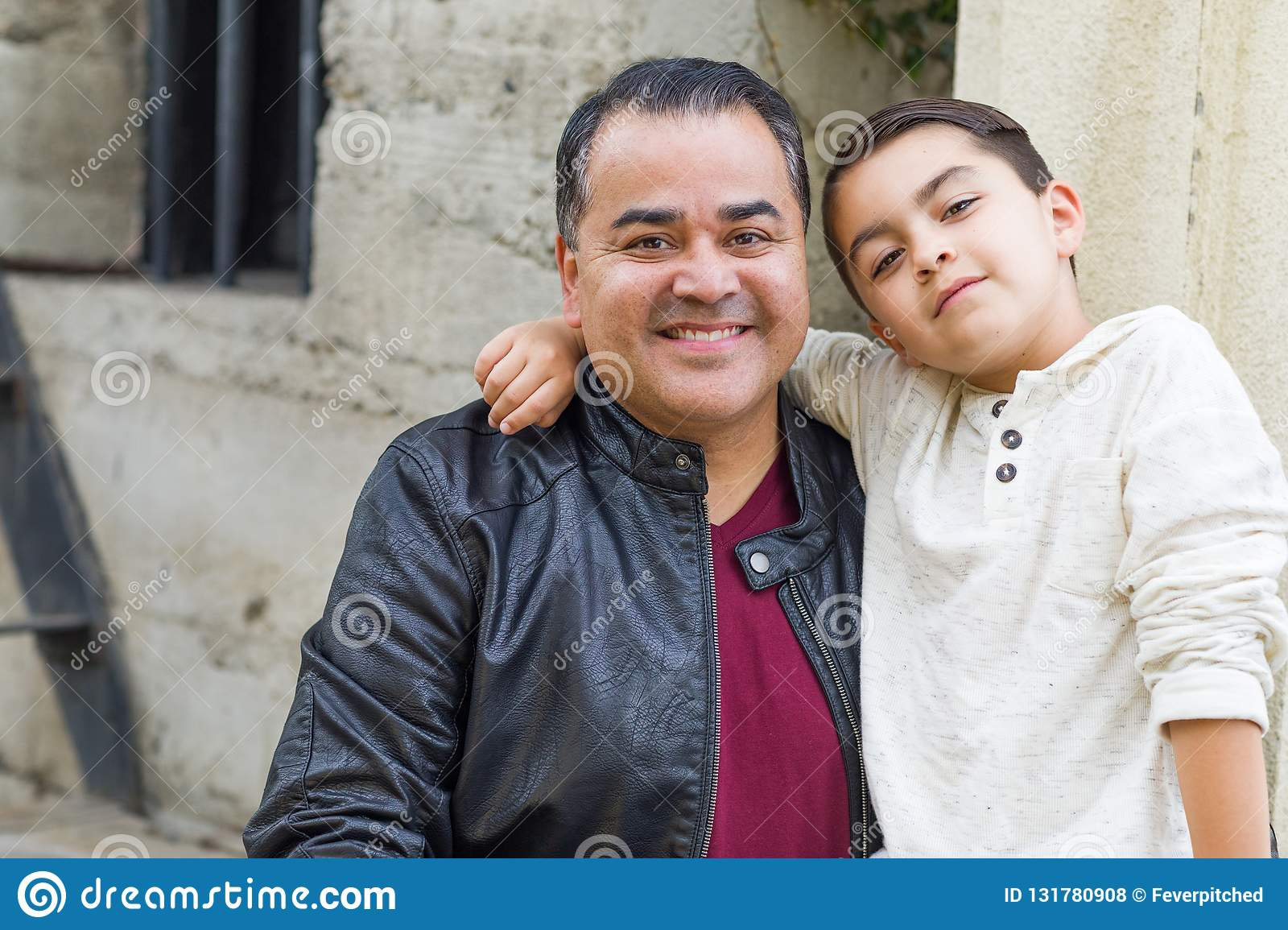 Mixed Race Hispanic and Caucasian Son and Father