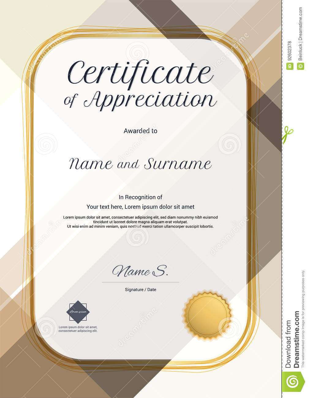 Portrait modern certificate of appreciation template with modern portrait modern certificate of appreciation template with modern royalty free vector alramifo Images