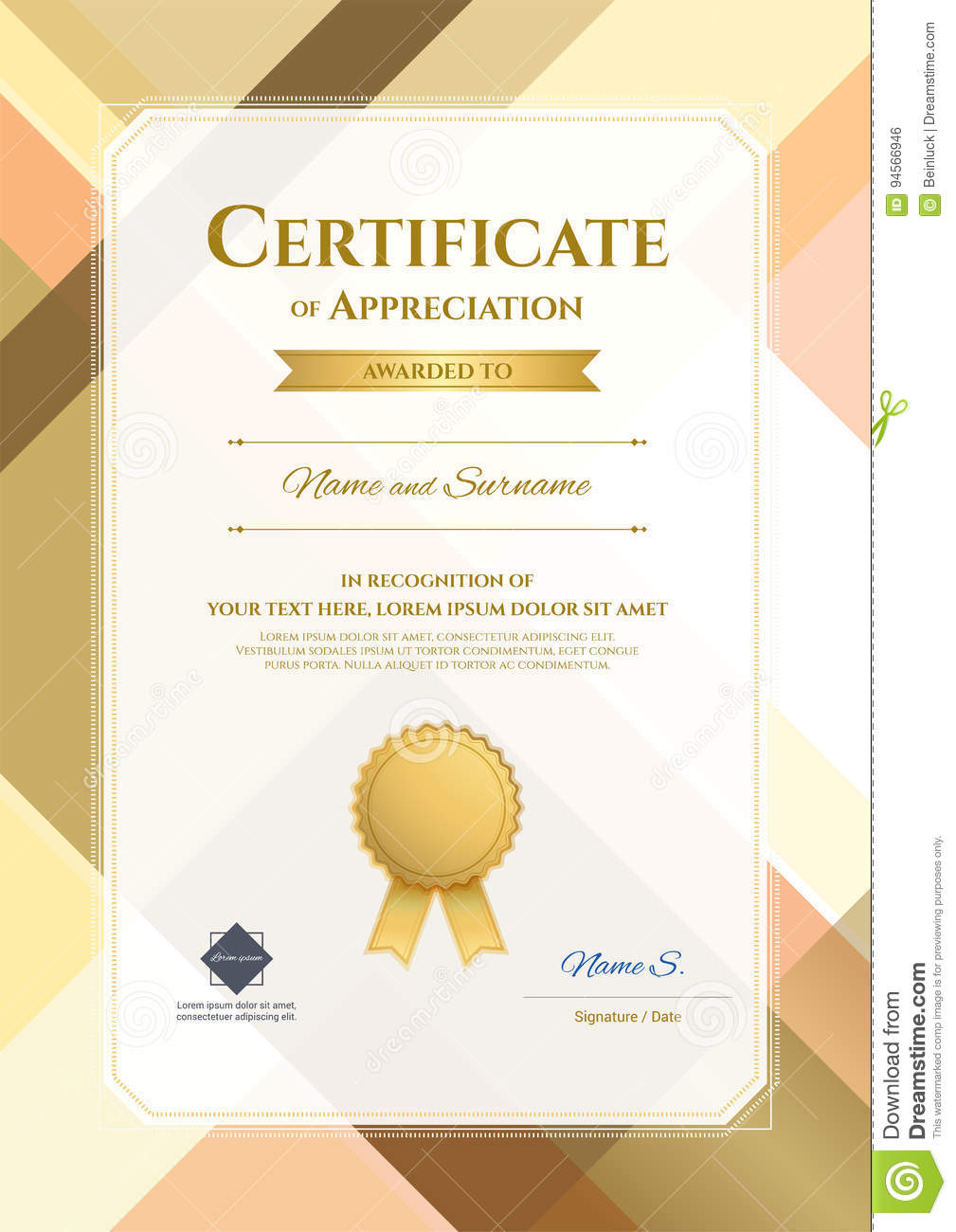 Portrait Modern Certificate Of Appreciation Template With Modern