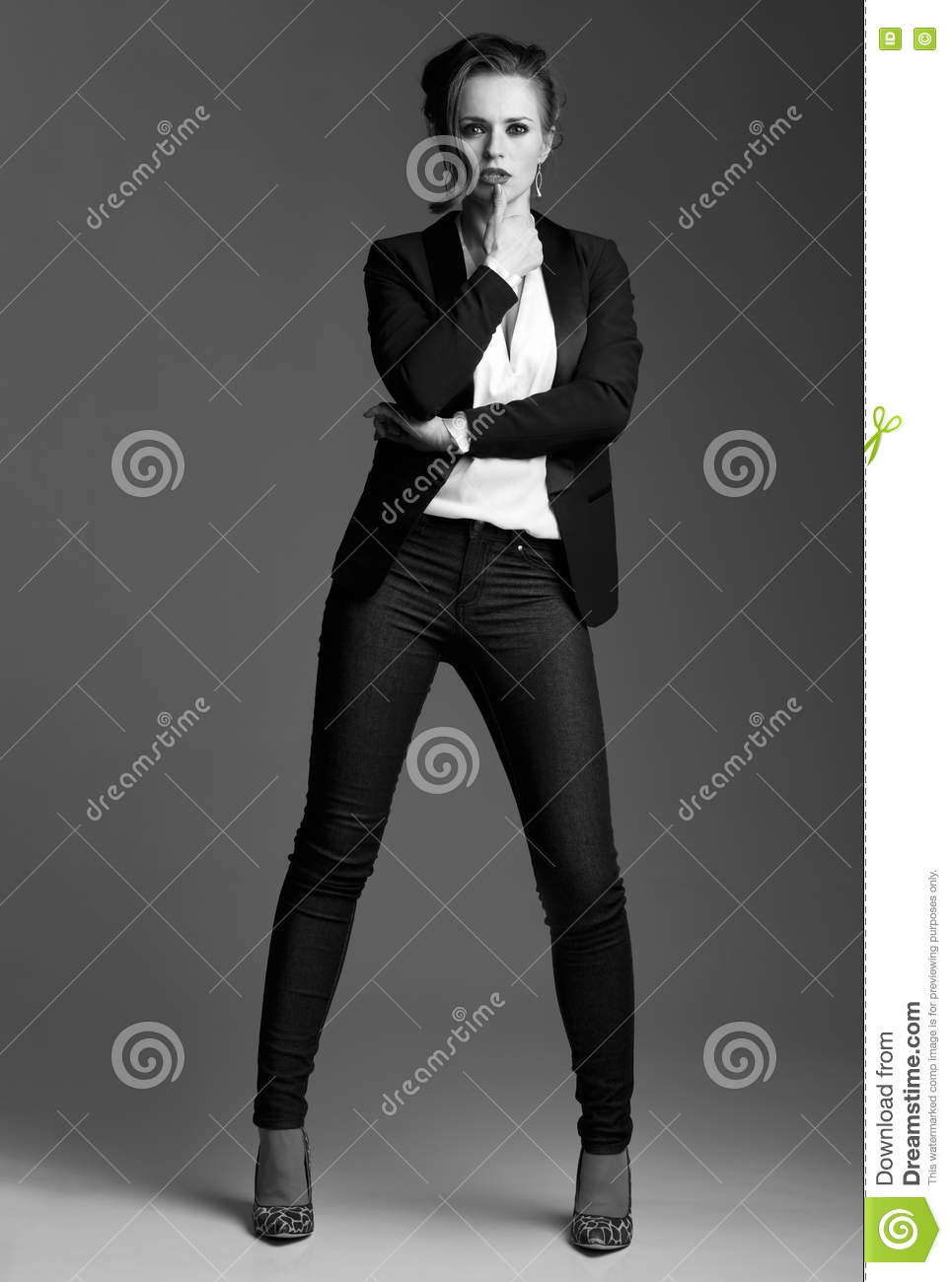 Contemporary Woman In Black And White Aesthetic Full Length Portrait Of Modern Elegant Posing Against Grey Background