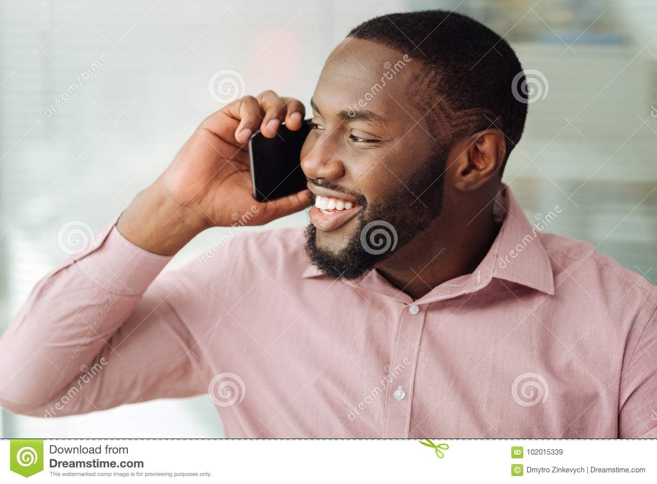 Portrait Of Modern Man That Talking Per Telephone Stock Image
