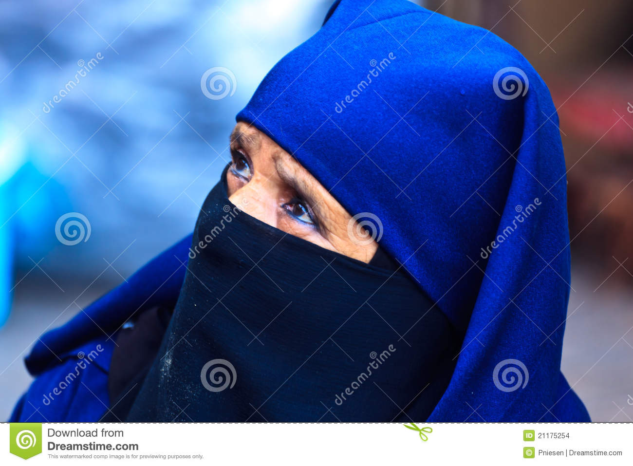 Portrait Moroccan Woman with blue head garb