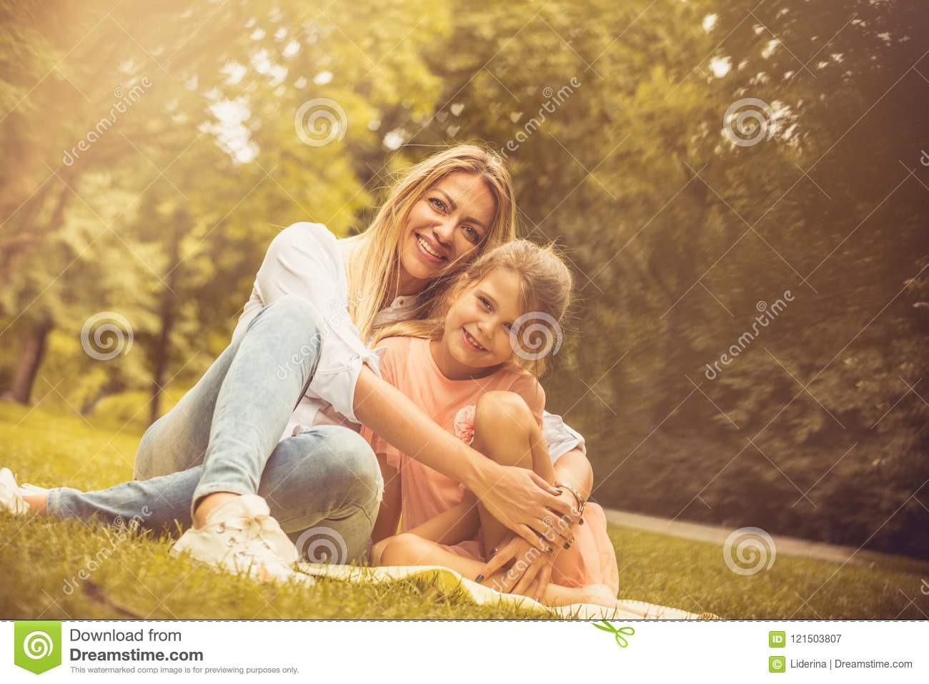 Portrait Of Mother And Daughter At Nature Stock Image Image Of