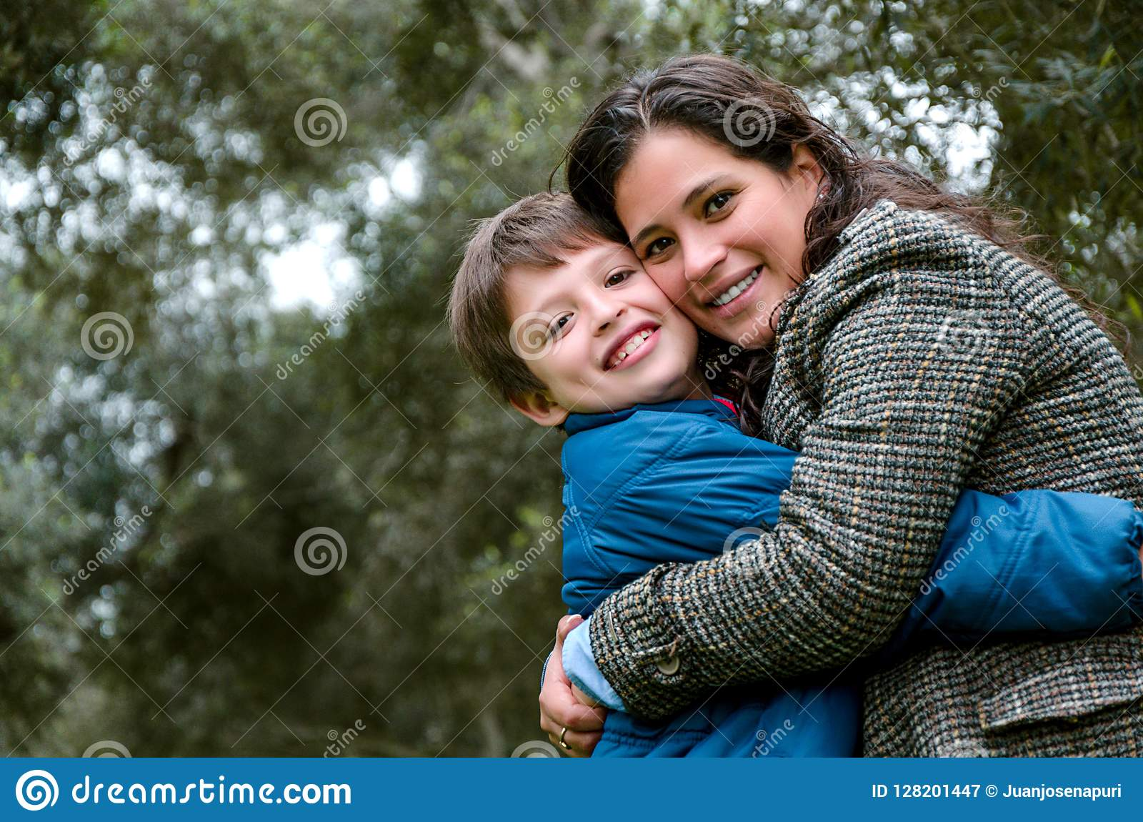 Portrait of a mother with her son teenager. Tenderness, love.