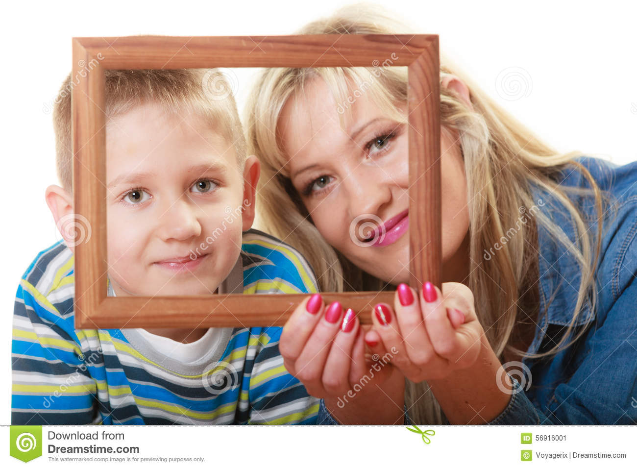 Portrait Of Mother And Son Holding Photo Frame Stock Image Image