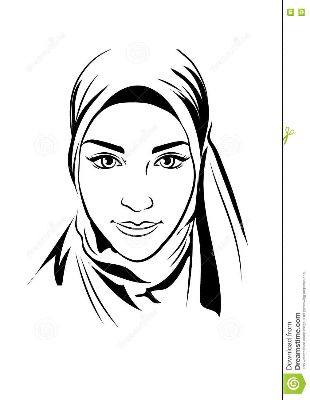Portrait of muslim beautiful girl in patterned hijab vector illustration hand drawing style