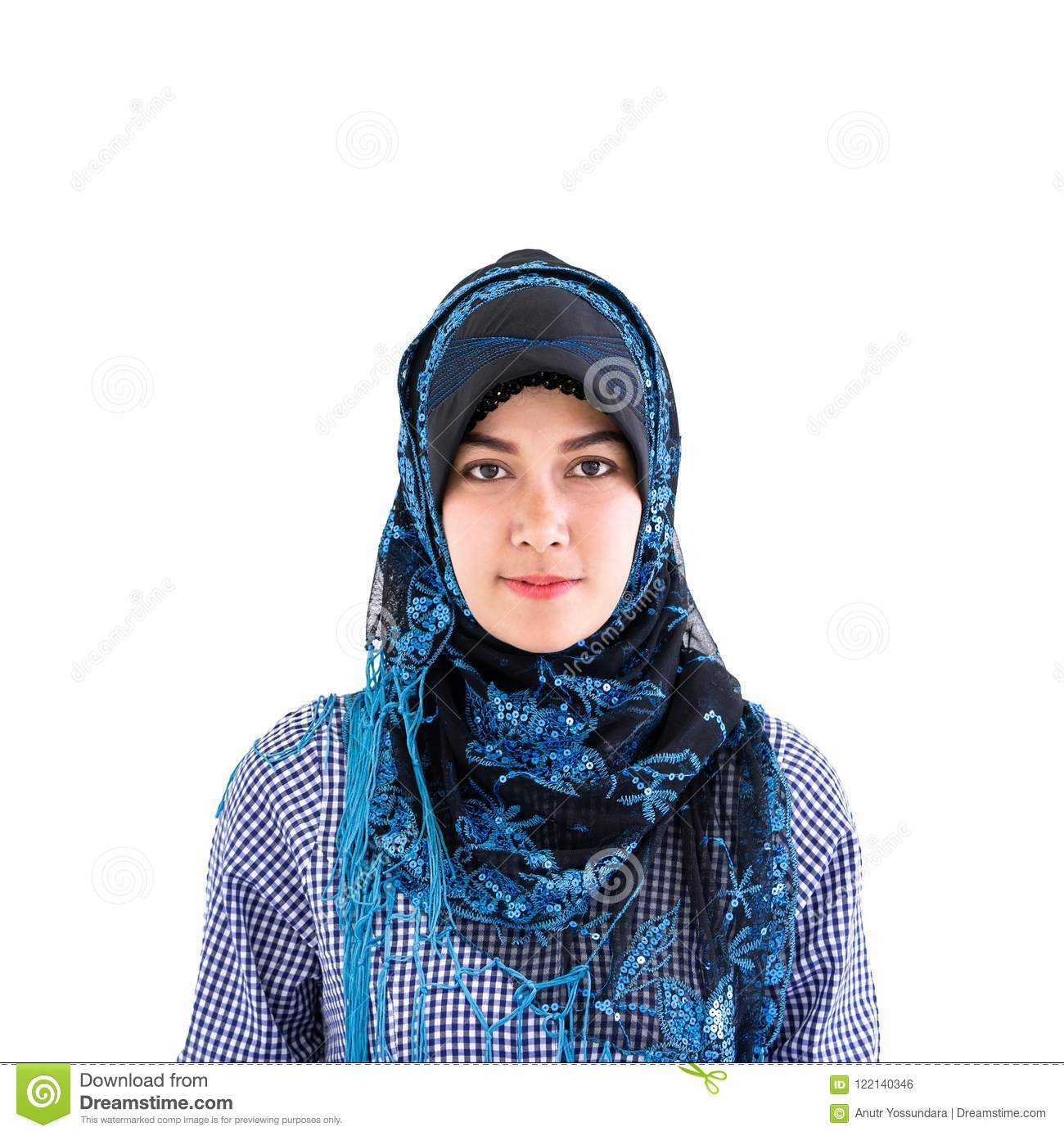 Portrait of a Muslim Islam woman on white
