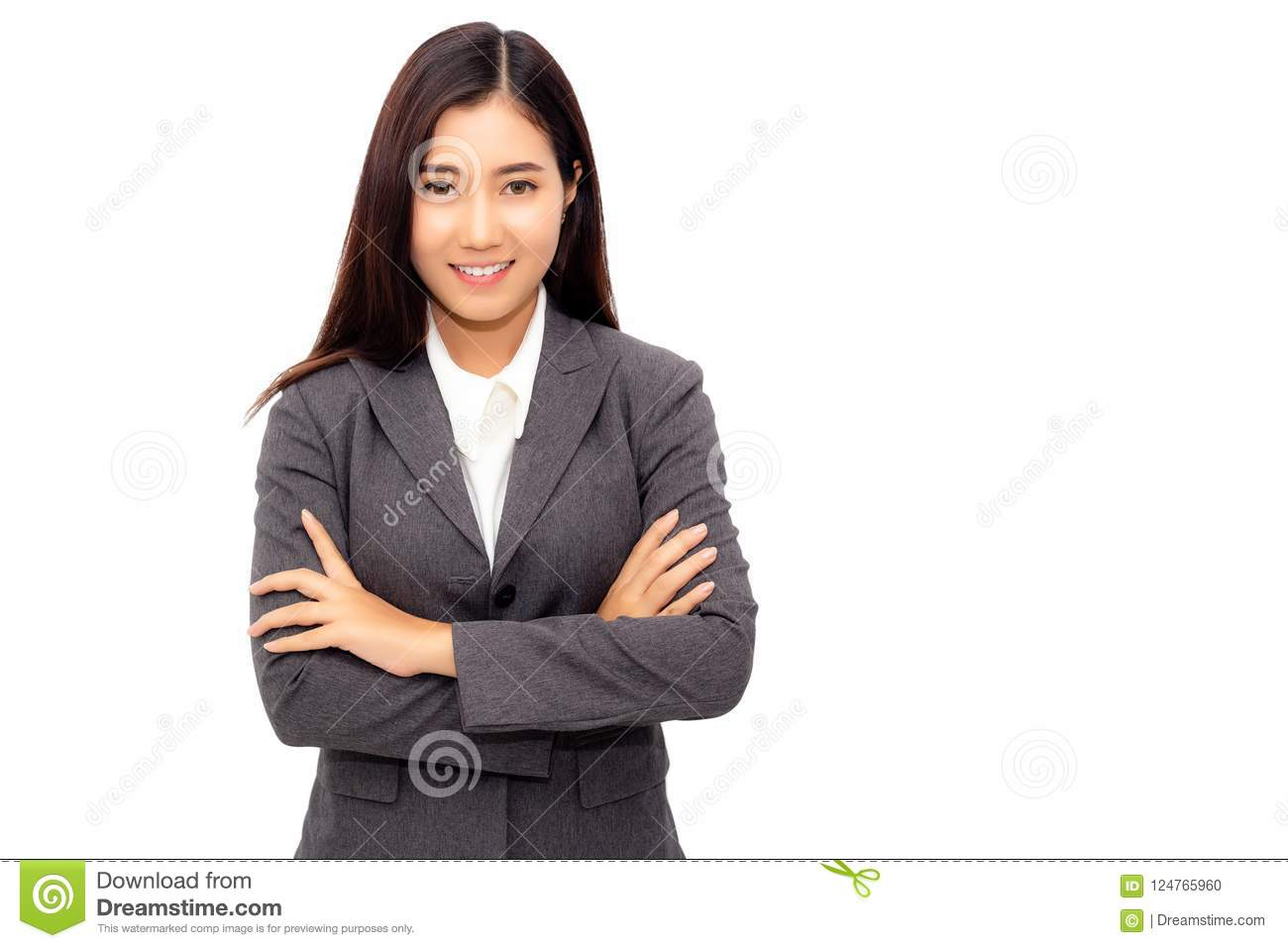 Portrait new generation of young business woman. Charming businesswoman cross arm and looks confident, determined. Attractive