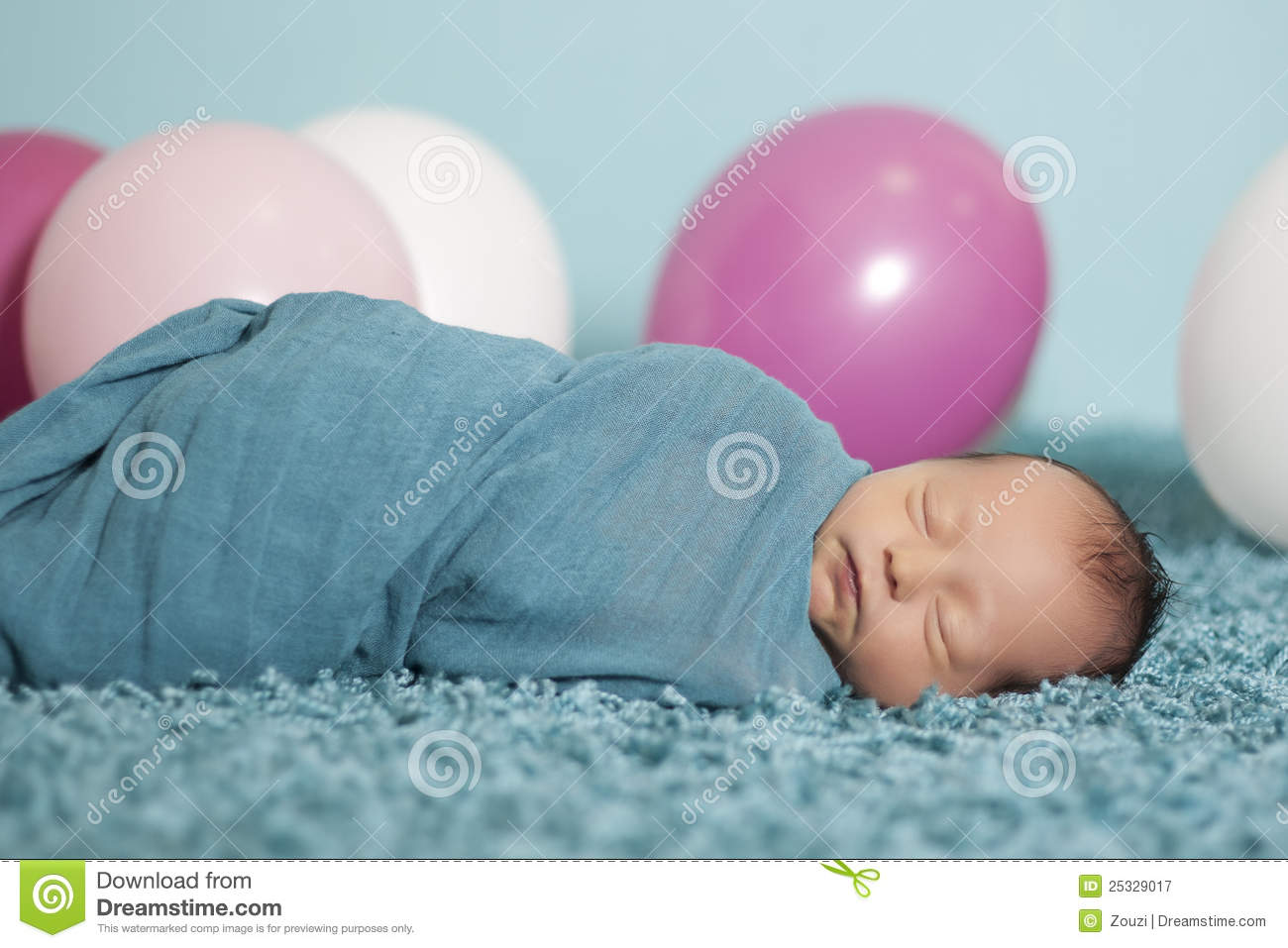 Portrait Of Newborn Baby Girl With Balloons Stock Image