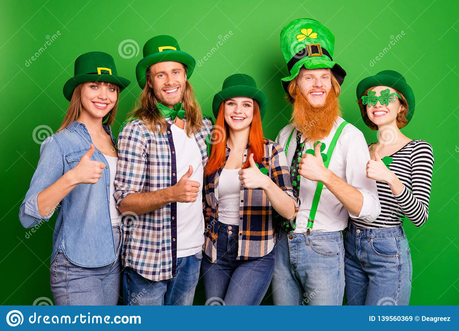Portrait of nice cute attractive cheerful positive confident group guys girls eyeglasses eyewear showing thumbup