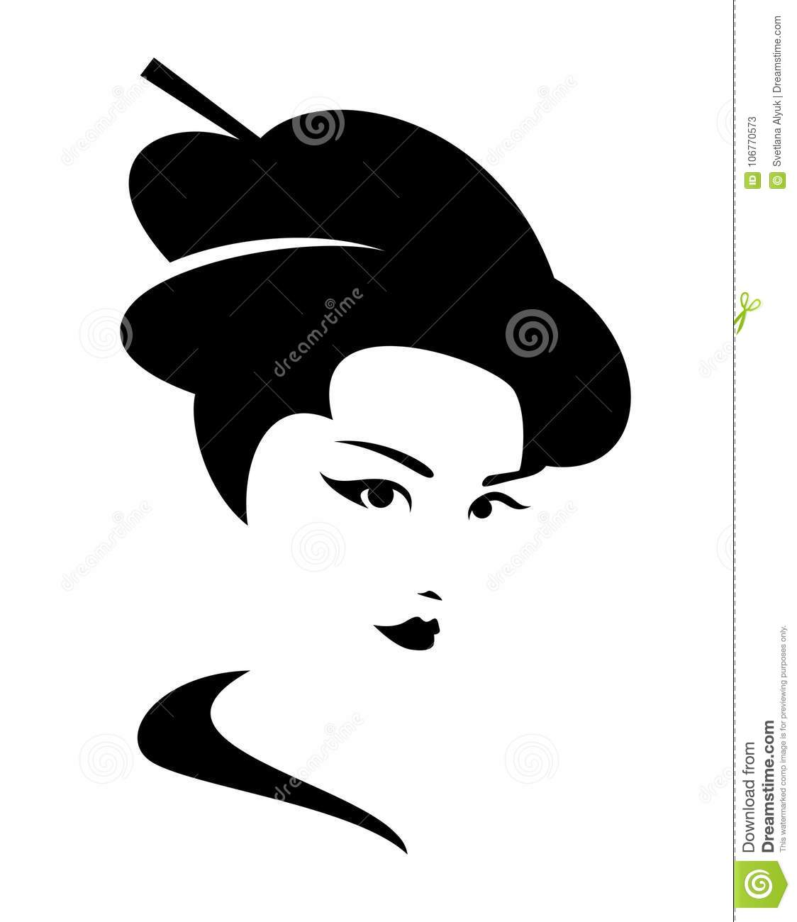 portrait noir et blanc de vecteur de geisha illustration de vecteur illustration du dessin. Black Bedroom Furniture Sets. Home Design Ideas