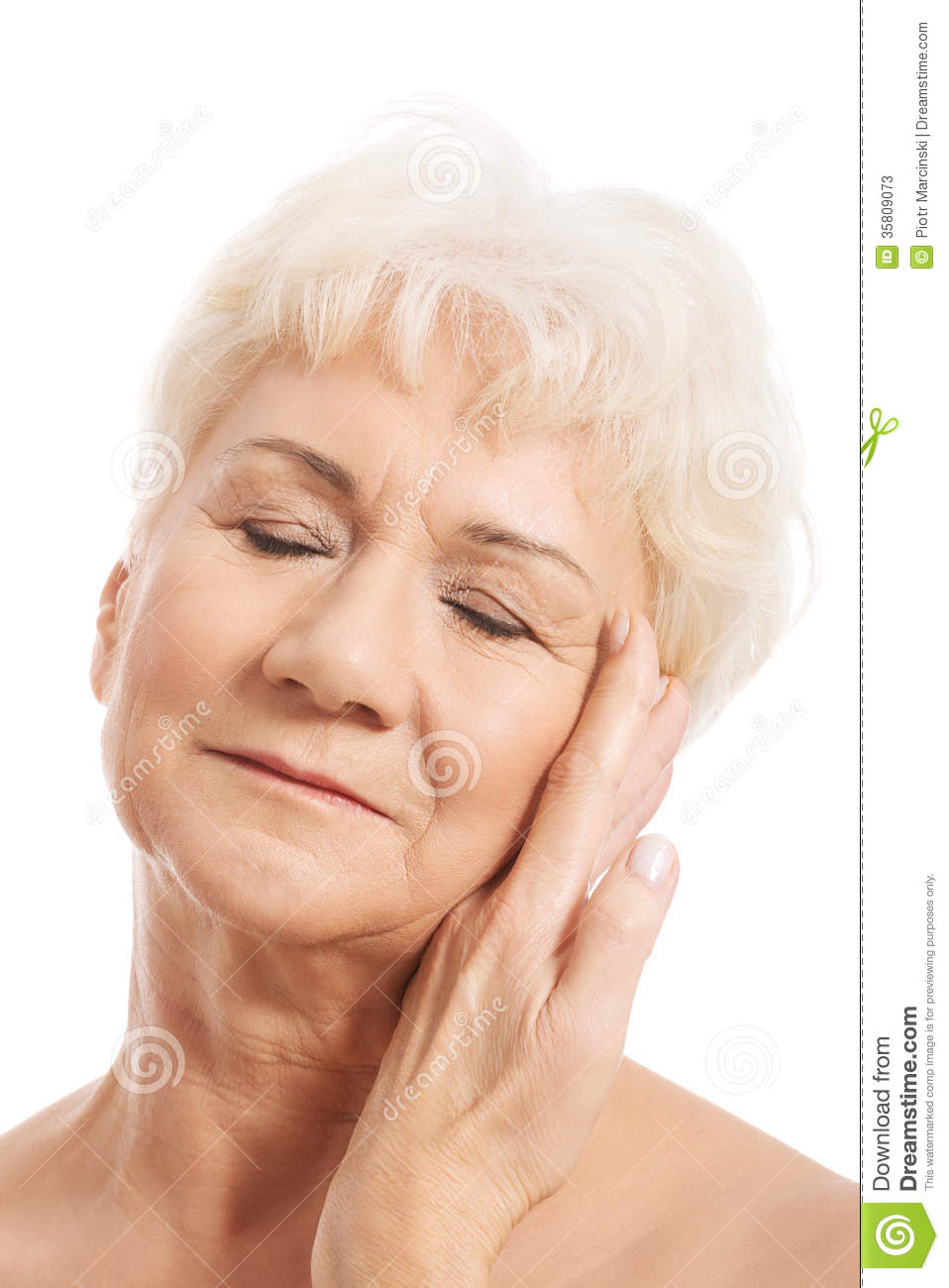 portrait of nude old woman- head and shoulders. stock image - image