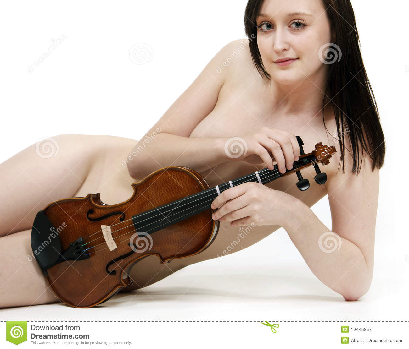 violin nude Portrait Of A Nude, Reclined Violin Player Royalty Free Stock Photography