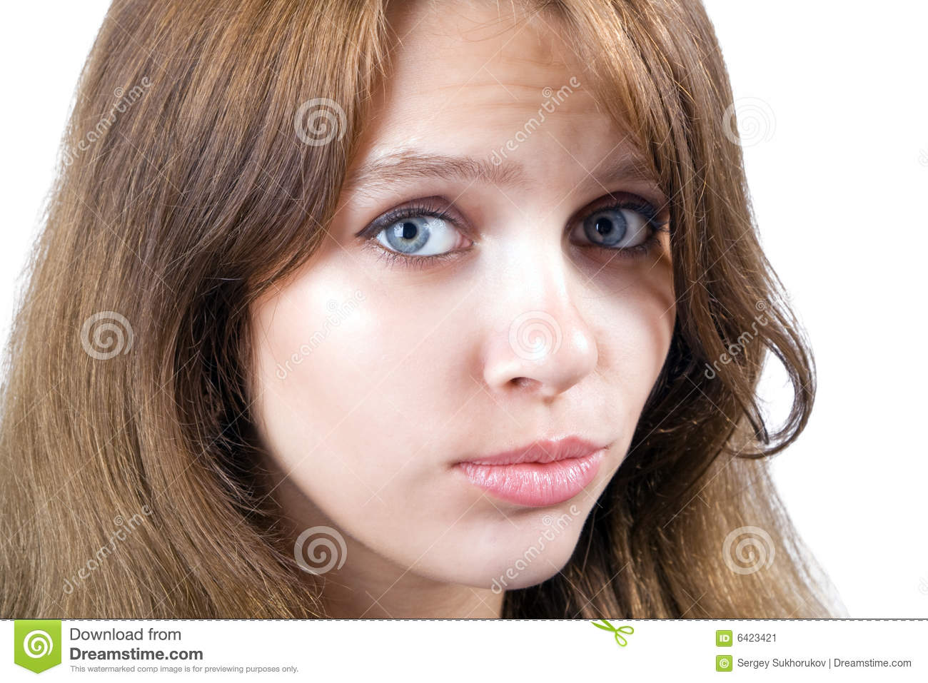 Portrait of the offended beauty young woman