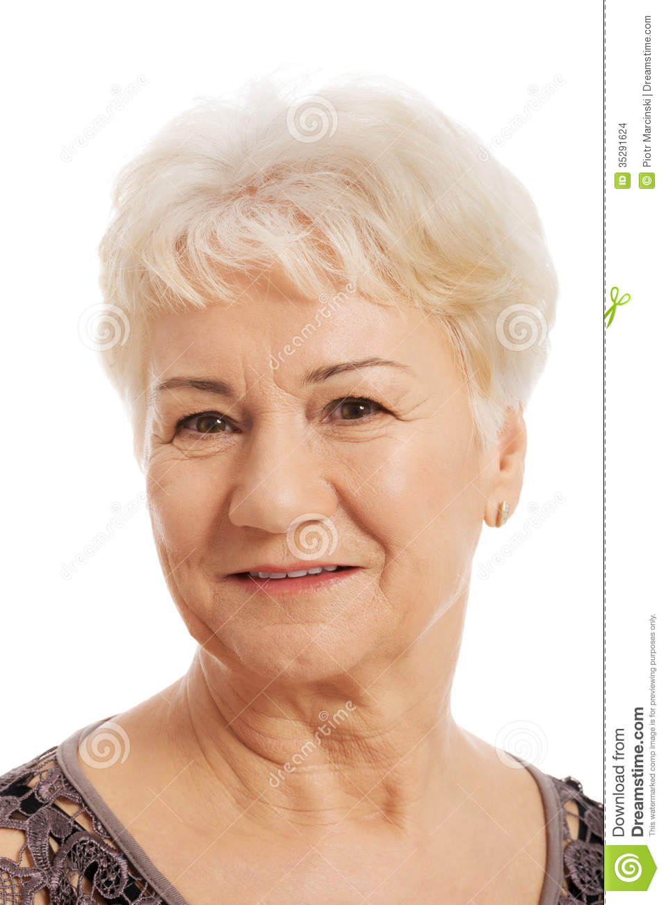 Portrait Of An Old, Elderly Lady. Stock Photo - Image