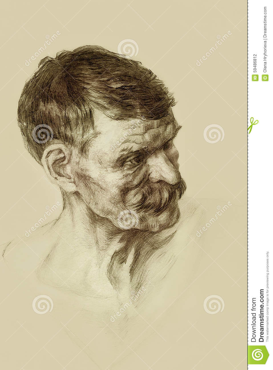 portrait of an old man drawing stock illustration