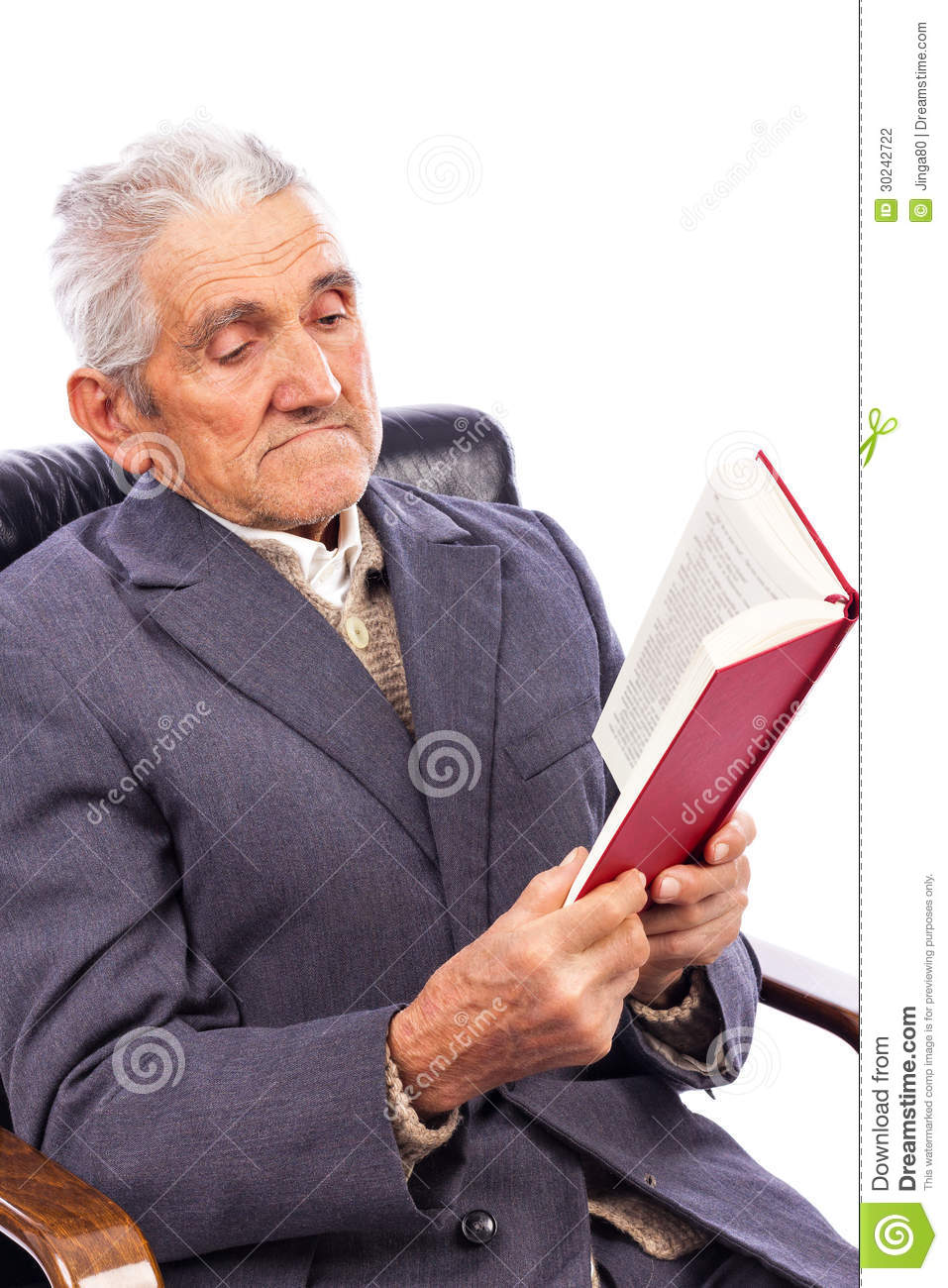 Portrait Of An Old Man Reading A Book Sitting In His
