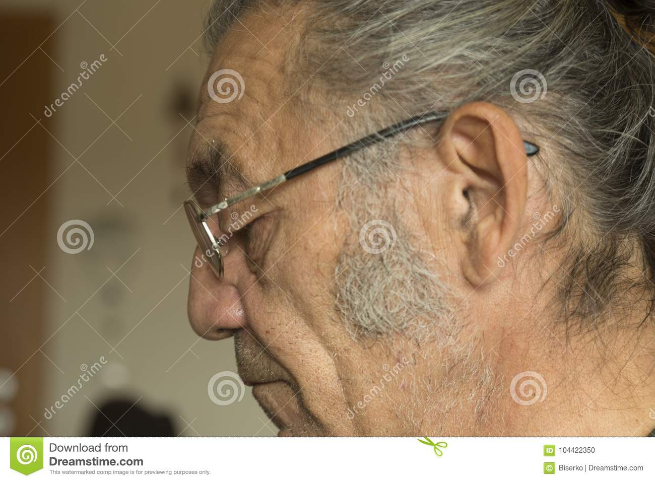 Portrait Of The Old Man With Reading Glasses Stock Photo - Image of  profile, tobacco: 104422350