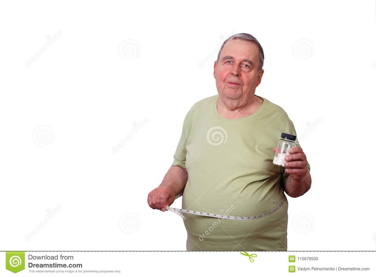 Portrait Of Old Overweight Man With Measuring Tape Around