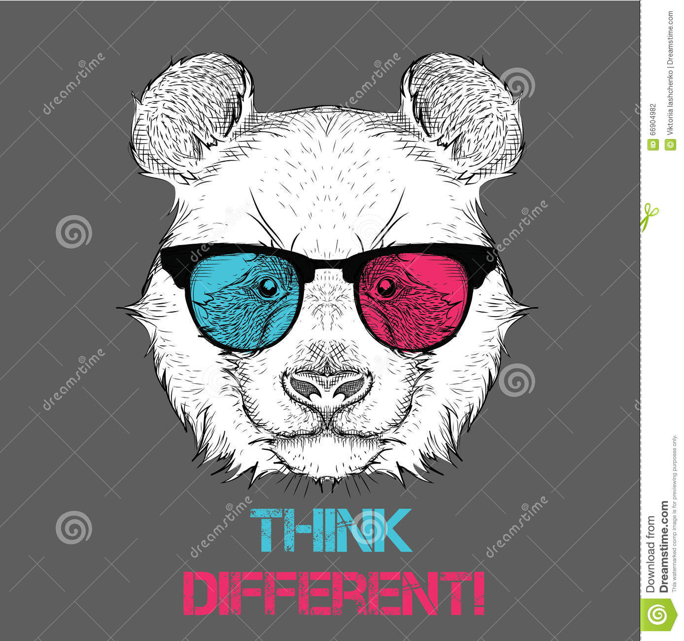 3b0ee645029 Portrait of the panda in the colored glasses. Think different. Vector  illustration.
