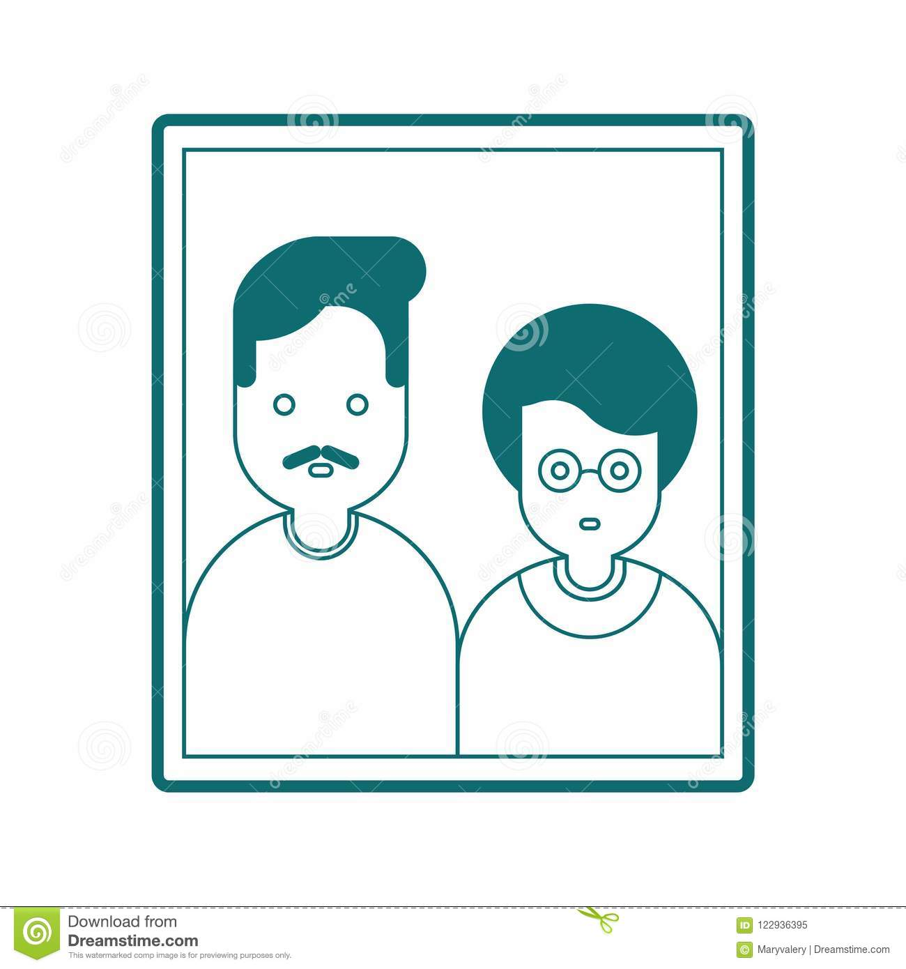 Portrait Of Parents In Frame Mom And Dad Family Photo Vector
