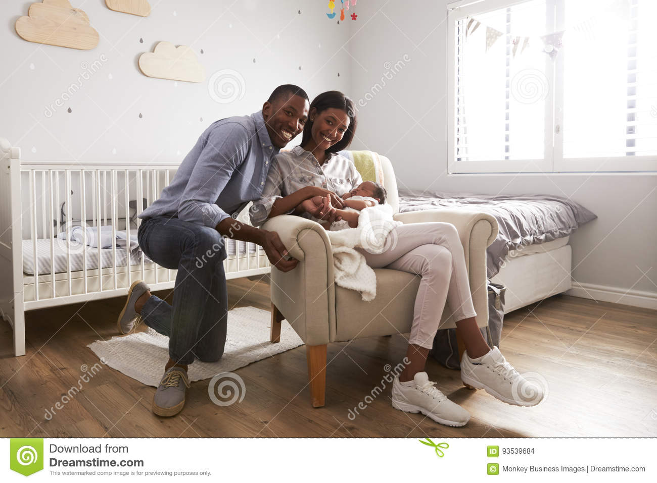 Download Portrait Of Parents Home From Hospital With Newborn Baby Stock Photo - Image of blanket, baby: 93539684