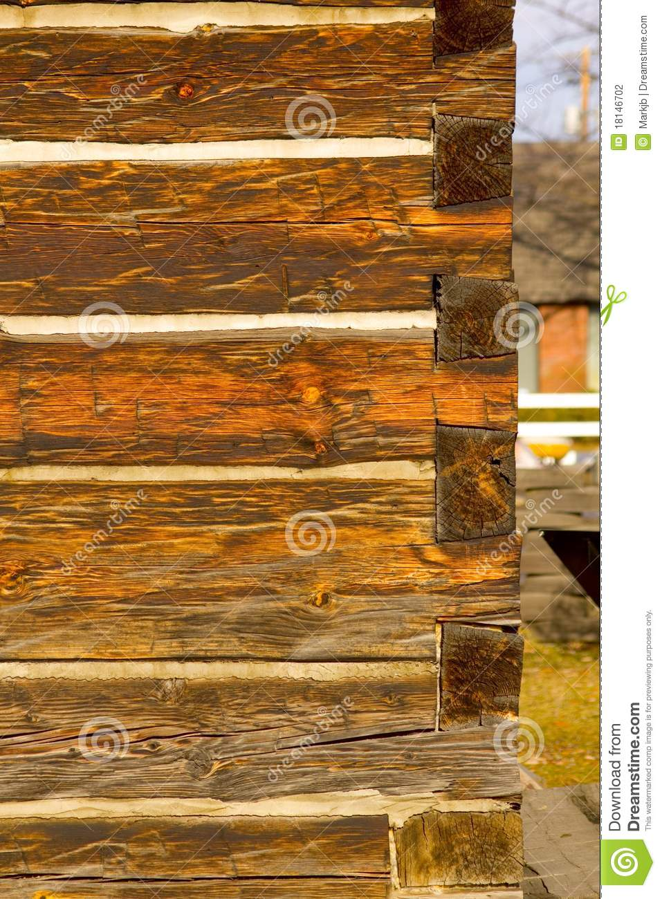 Portrait Photo Of Antique Square Log Construction Stock