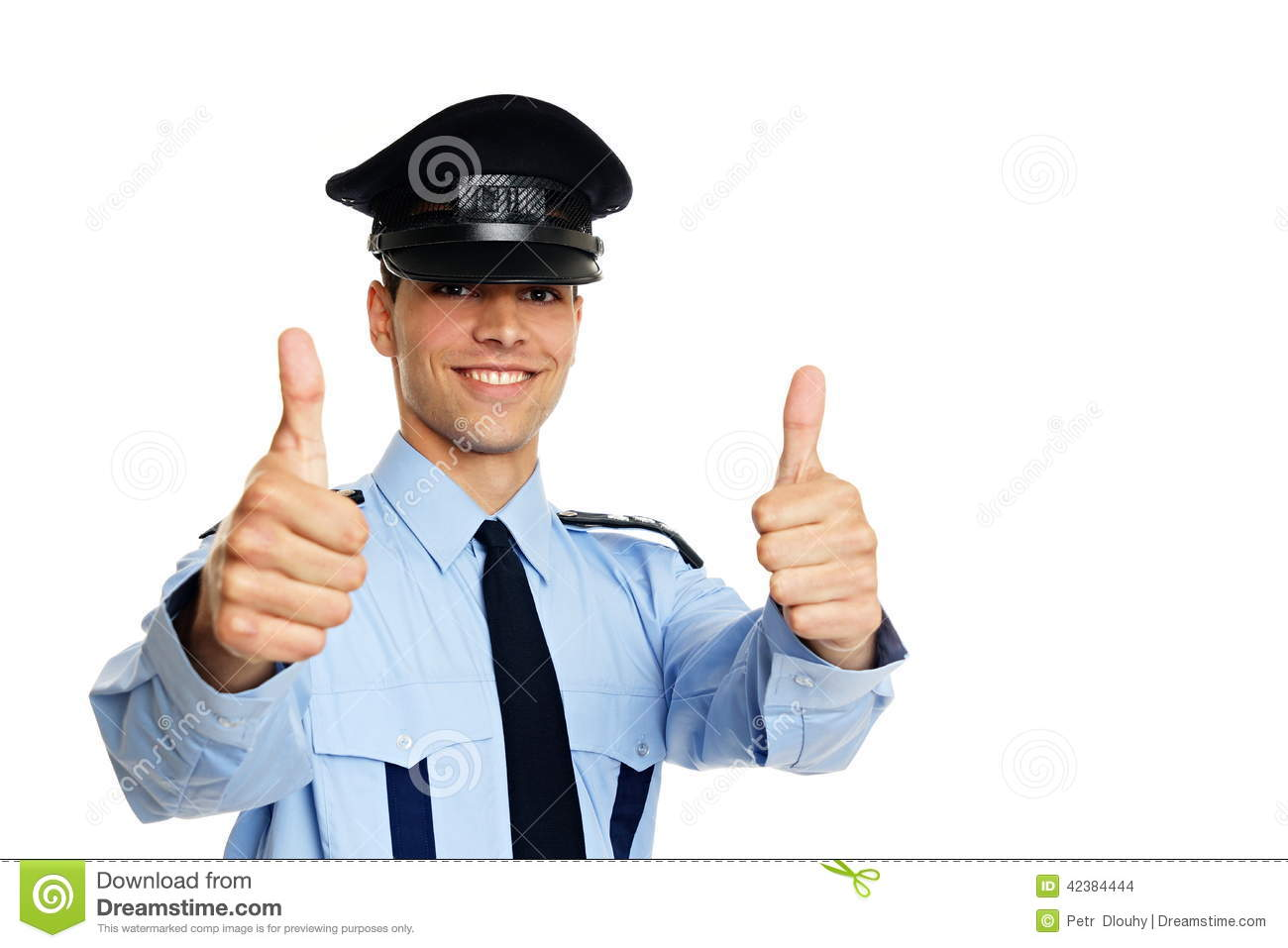 Smiling young policeman shows you thumbs up, right you can write some ...