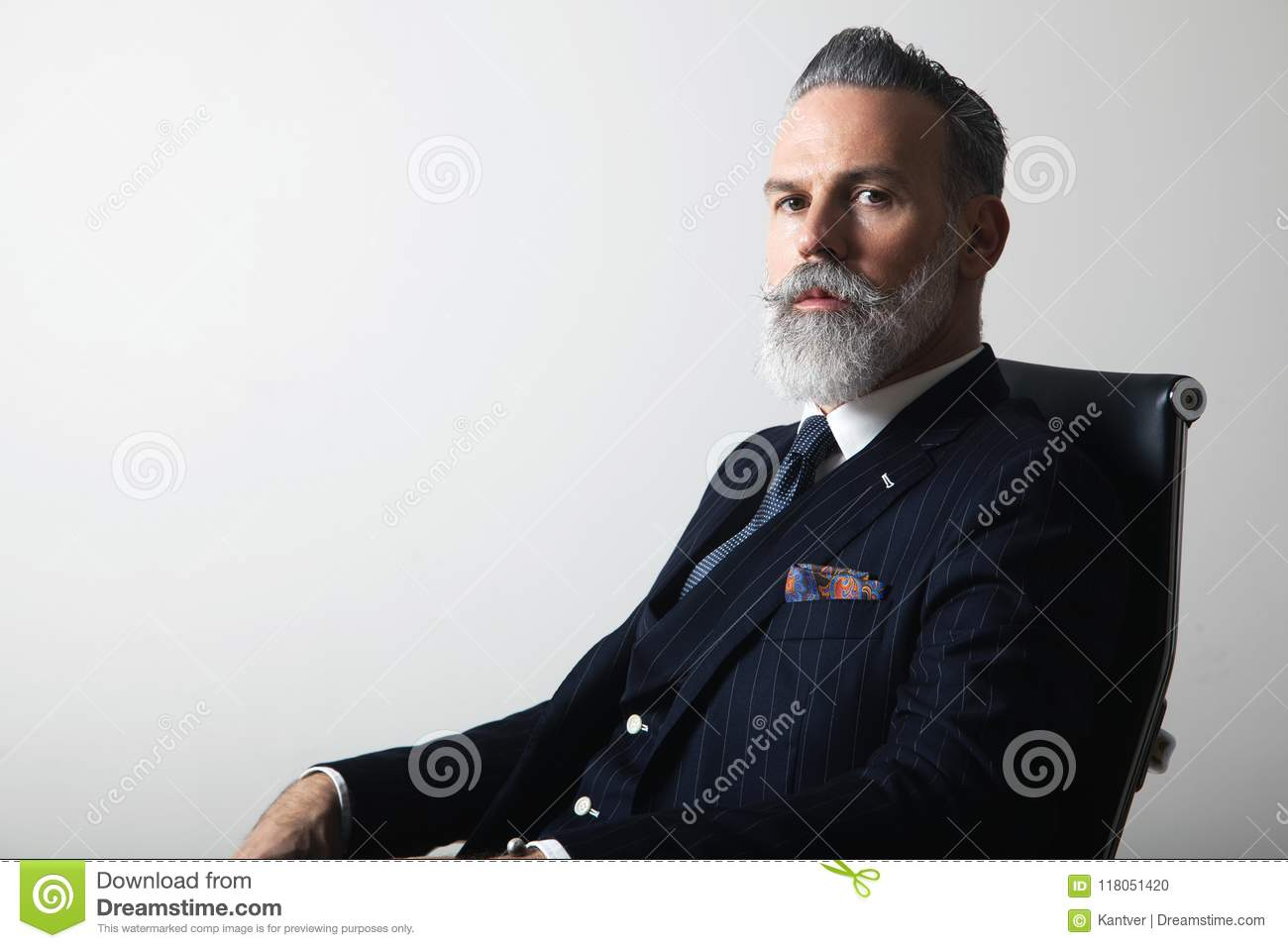 Portrait of positive bearded middle aged gentleman wearing trendy suit over empty gray background. Copy Paste space