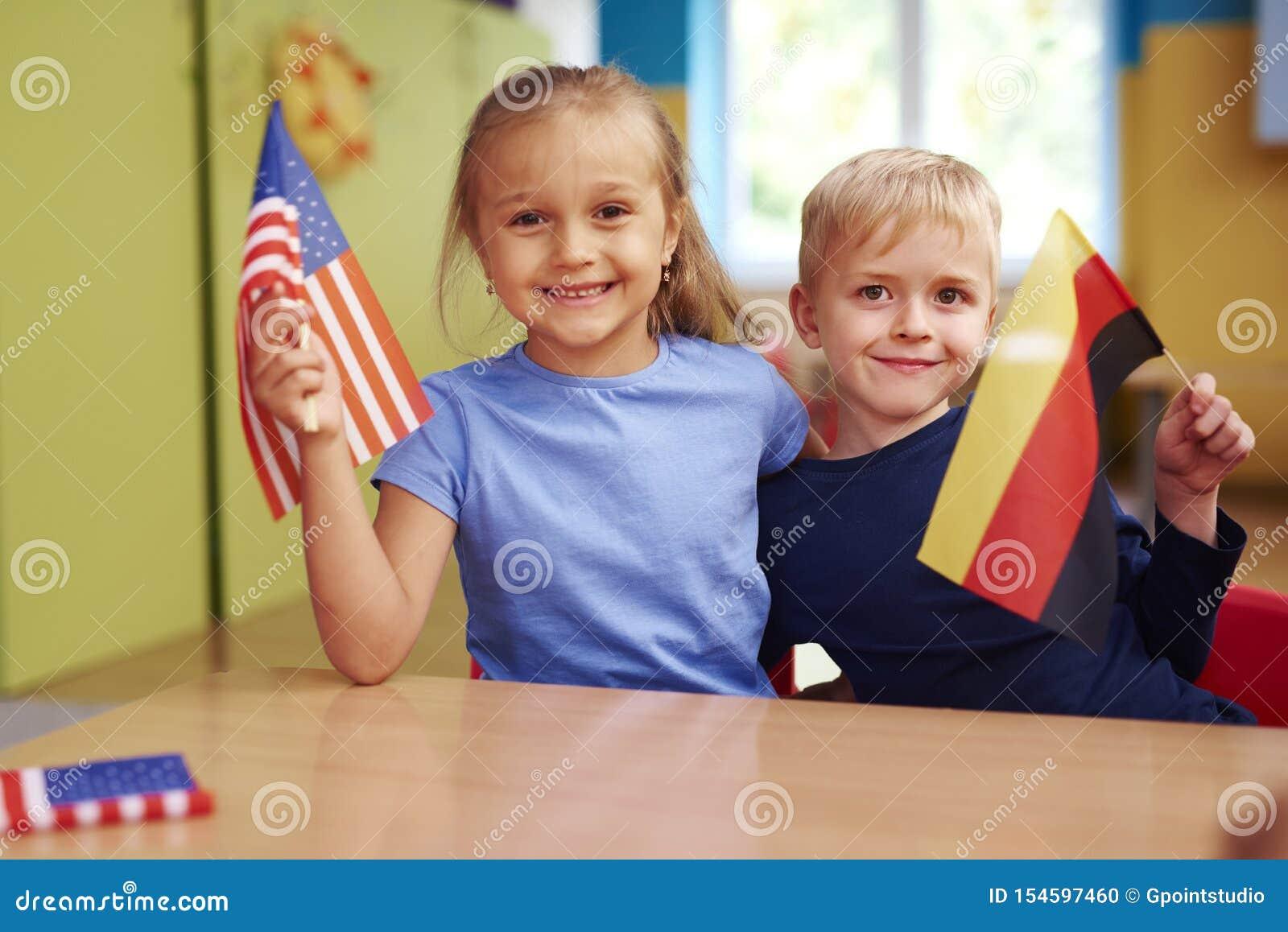 Portrait of preschool children learning languages