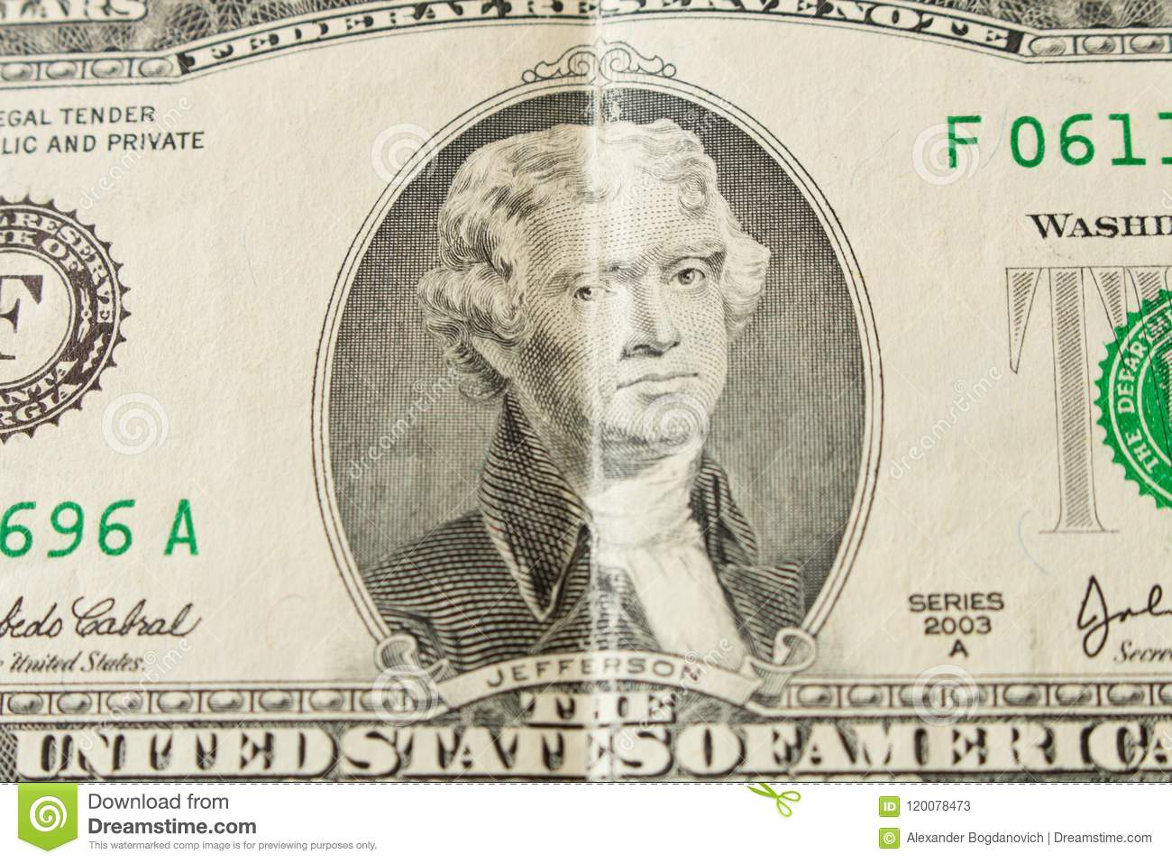 Portrait of President Thomas Jefferson on a 2 dollar bill . Close up