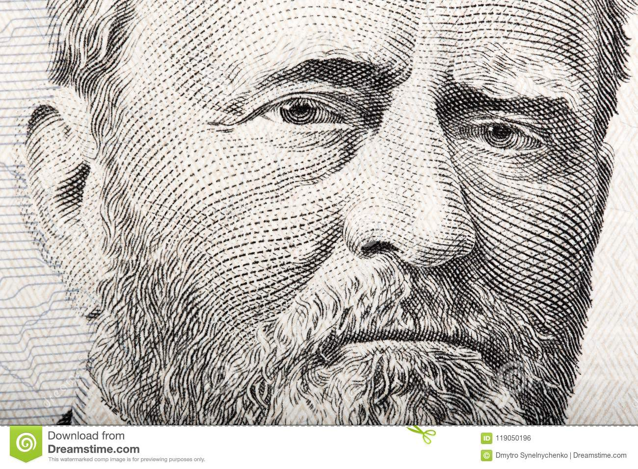 Portrait of the President Ulysses S. Grant close up from 50 doll