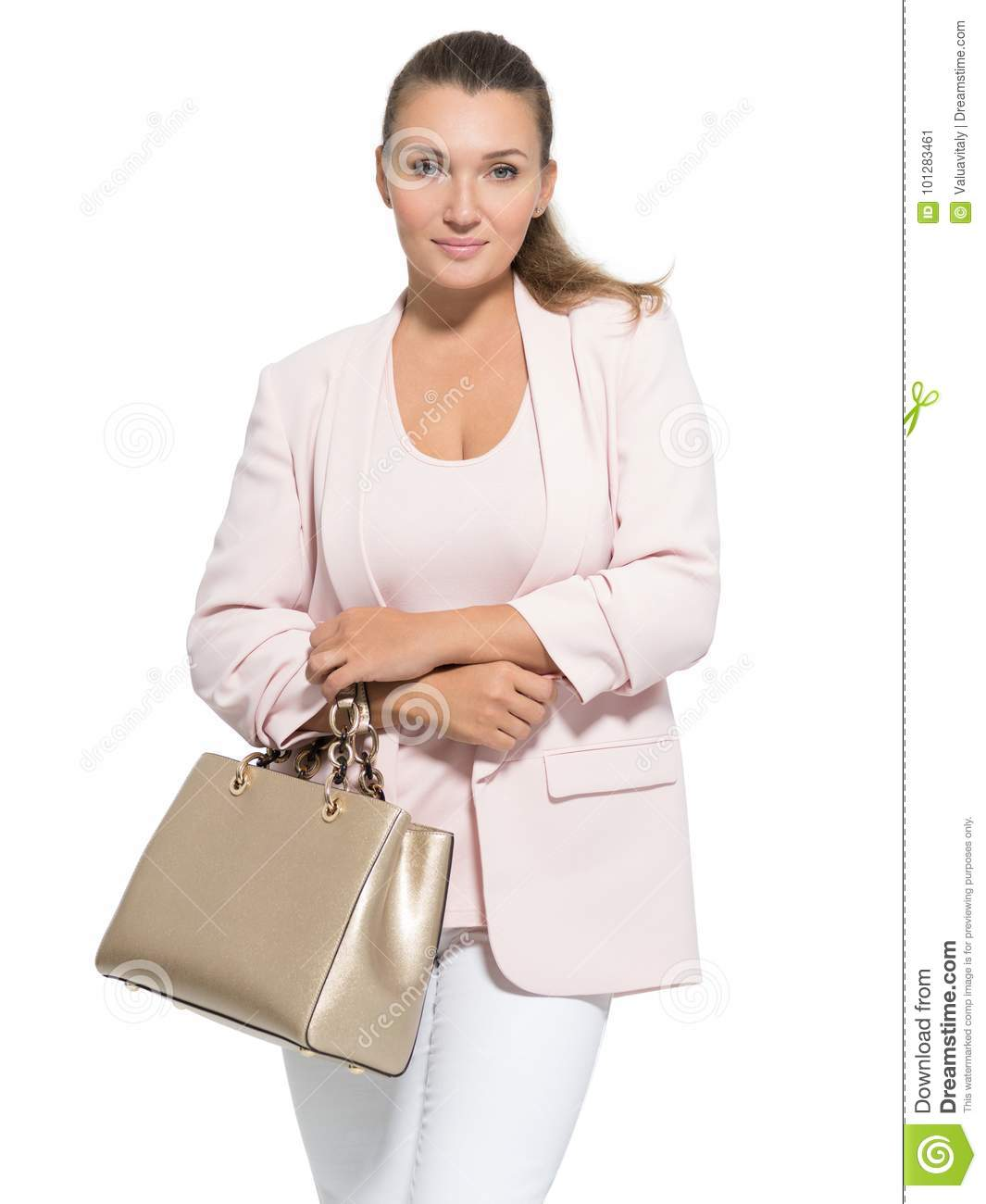 Portrait of an pretty adult woman with handbag