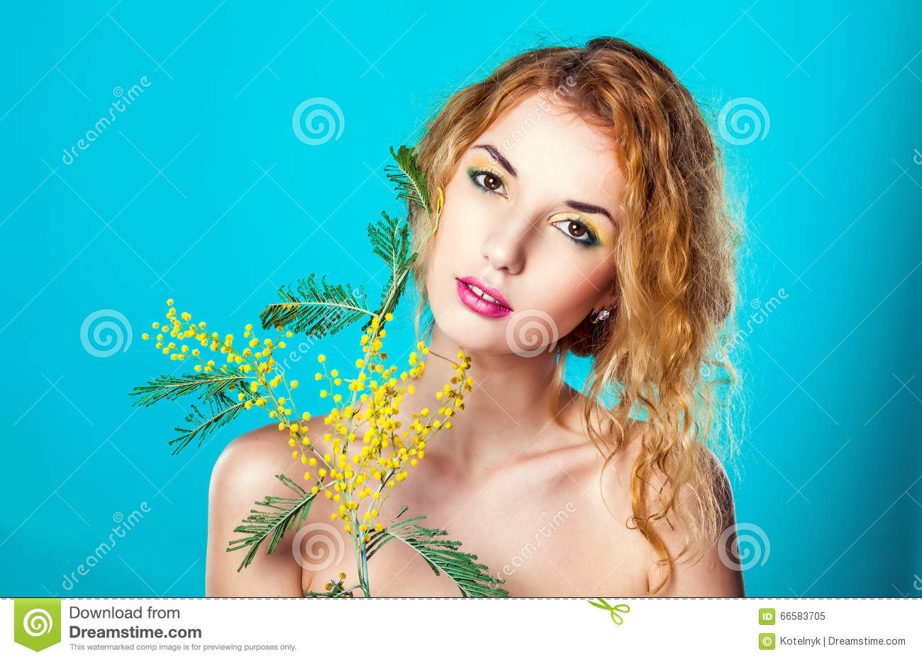 Portrait of a pretty girl with mimosa flowers spring stock image portrait of a pretty girl with mimosa flowers spring attractive flower izmirmasajfo