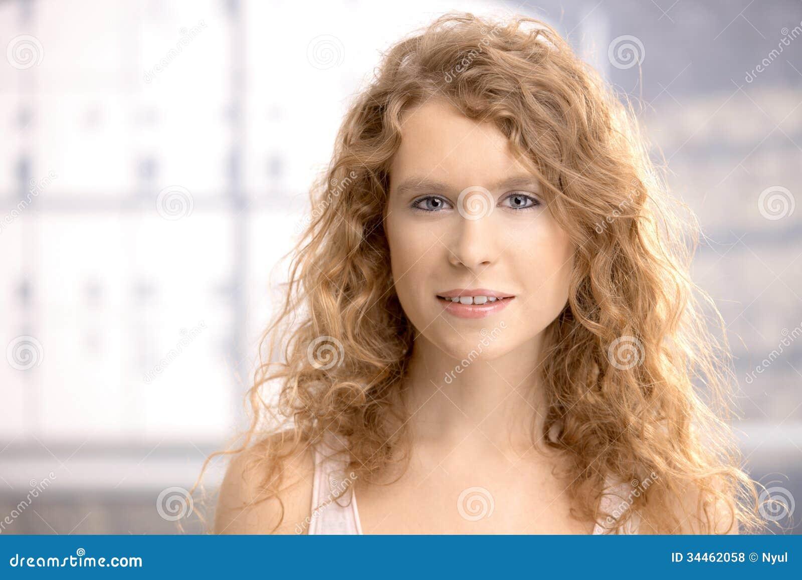 Women Blonde Blue Eyes Long Hair Wavy Hair Portrait: Portrait Of Pretty Girl Smiling Royalty Free Stock Photos