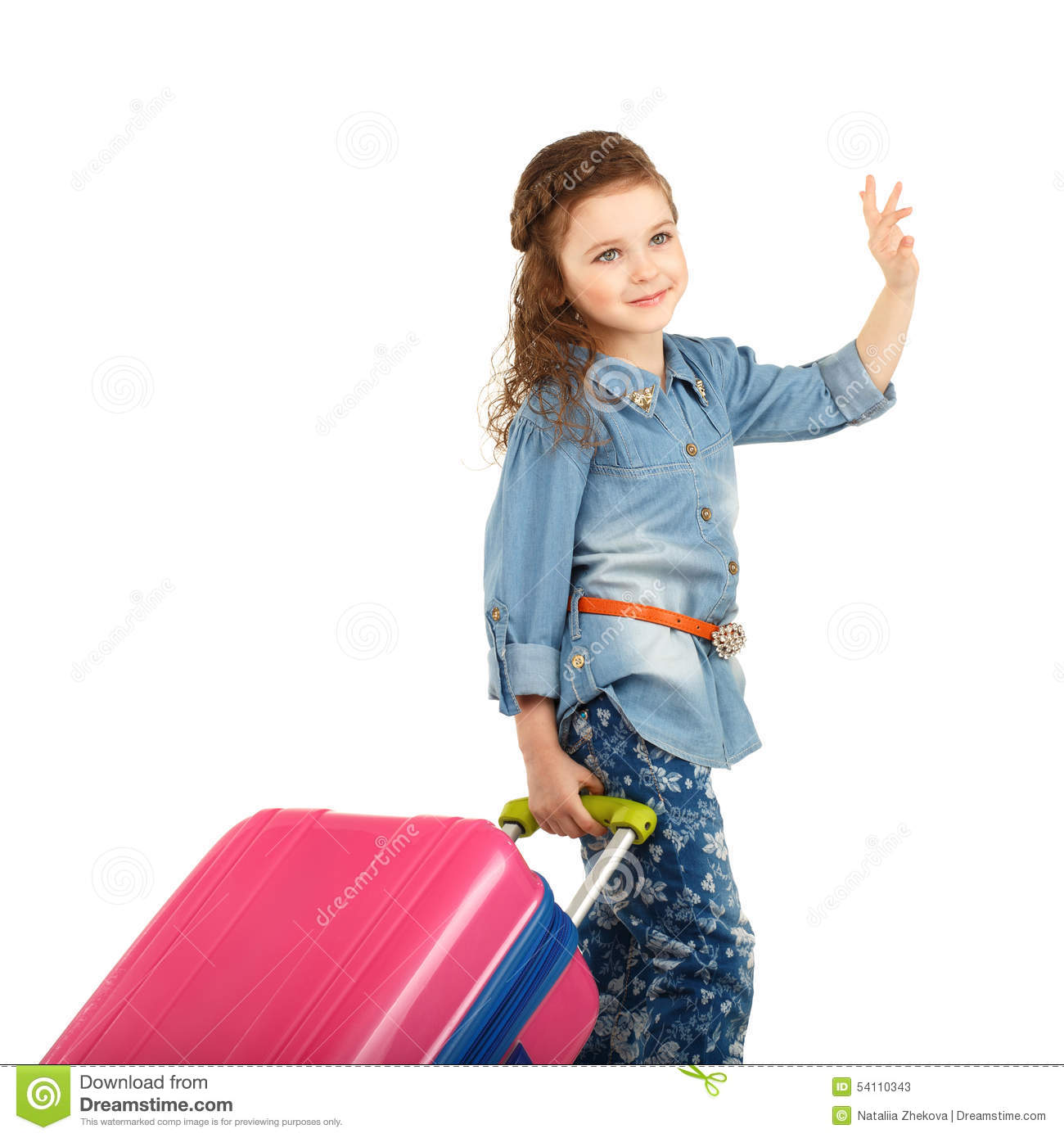 Portrait Of A Pretty Little Girl With Big Pink Suitcase On Wheel ...