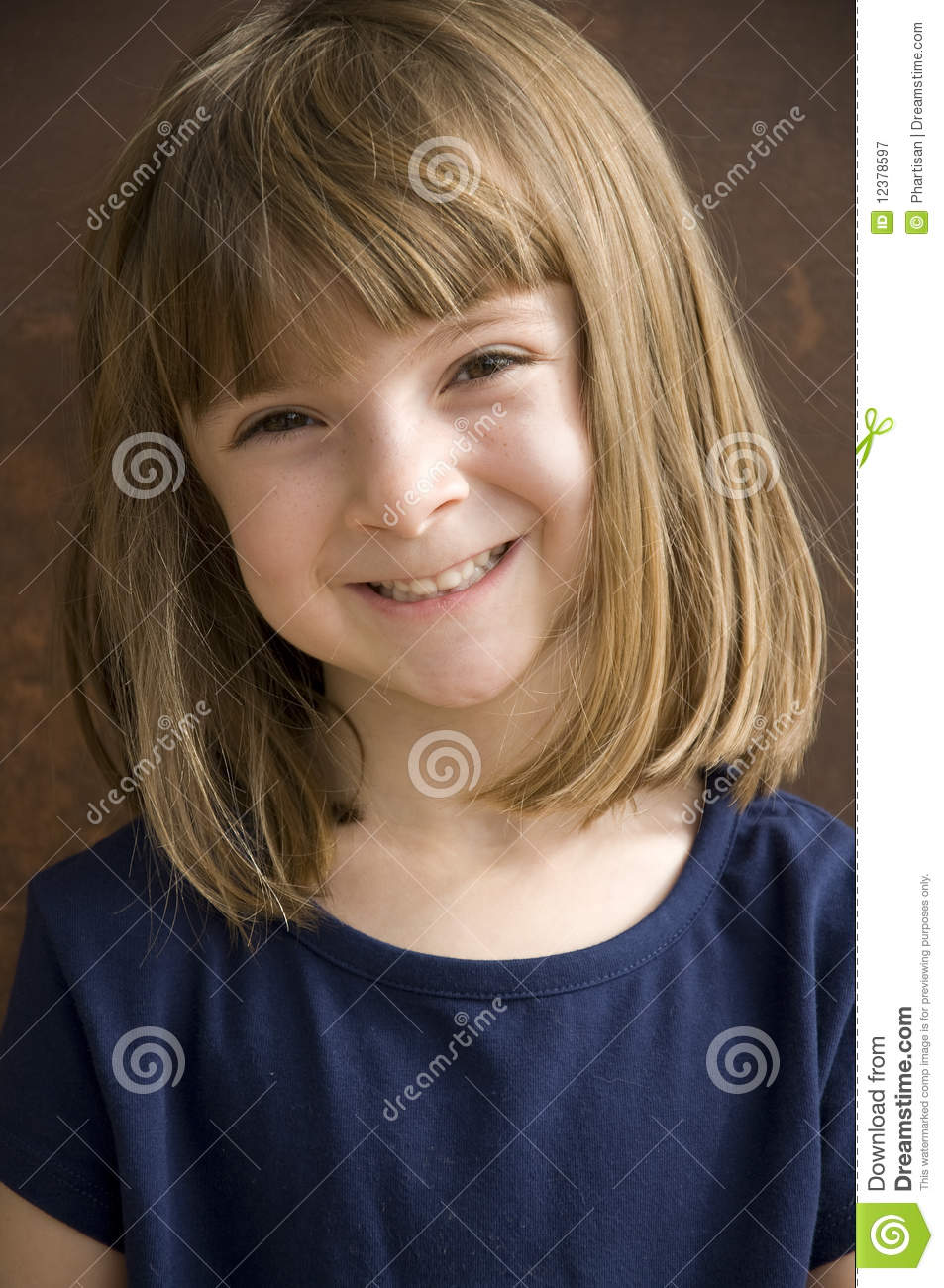 portrait of a pretty little girl smiling royalty free. Black Bedroom Furniture Sets. Home Design Ideas